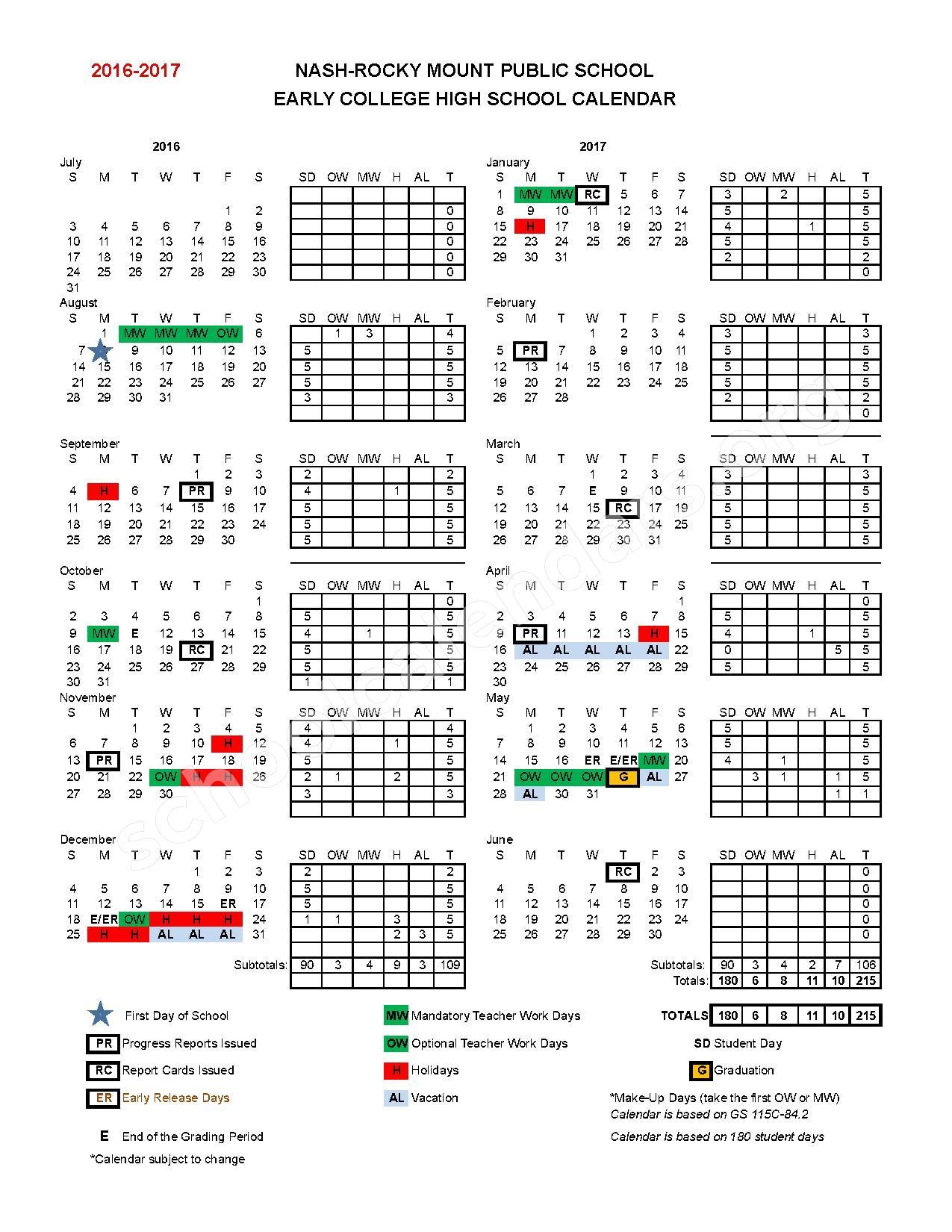 2016 - 2017 Early College High School Calendar – Nash-Rocky Mount Public Schools – page 1