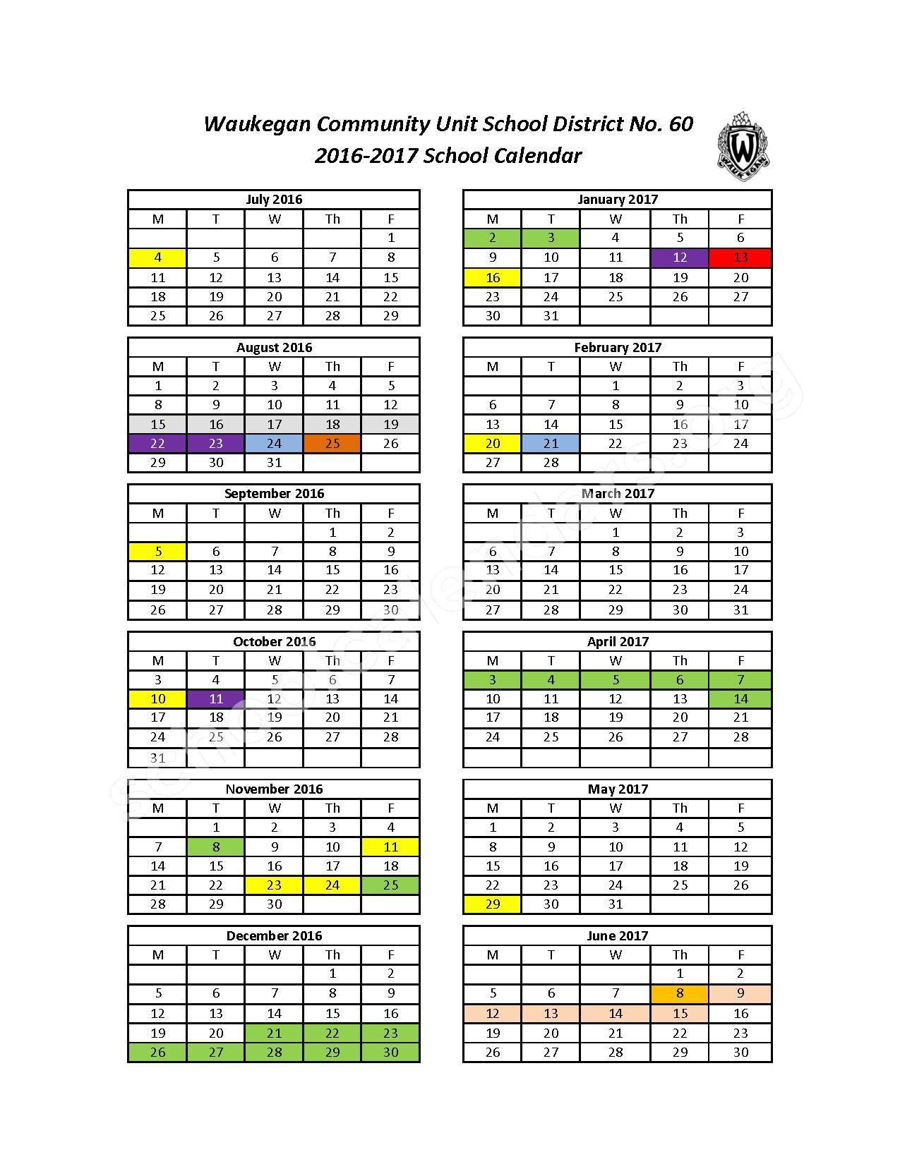 2016 - 2017 School Calendar – Waukegan Community Unit School District 60 – page 1
