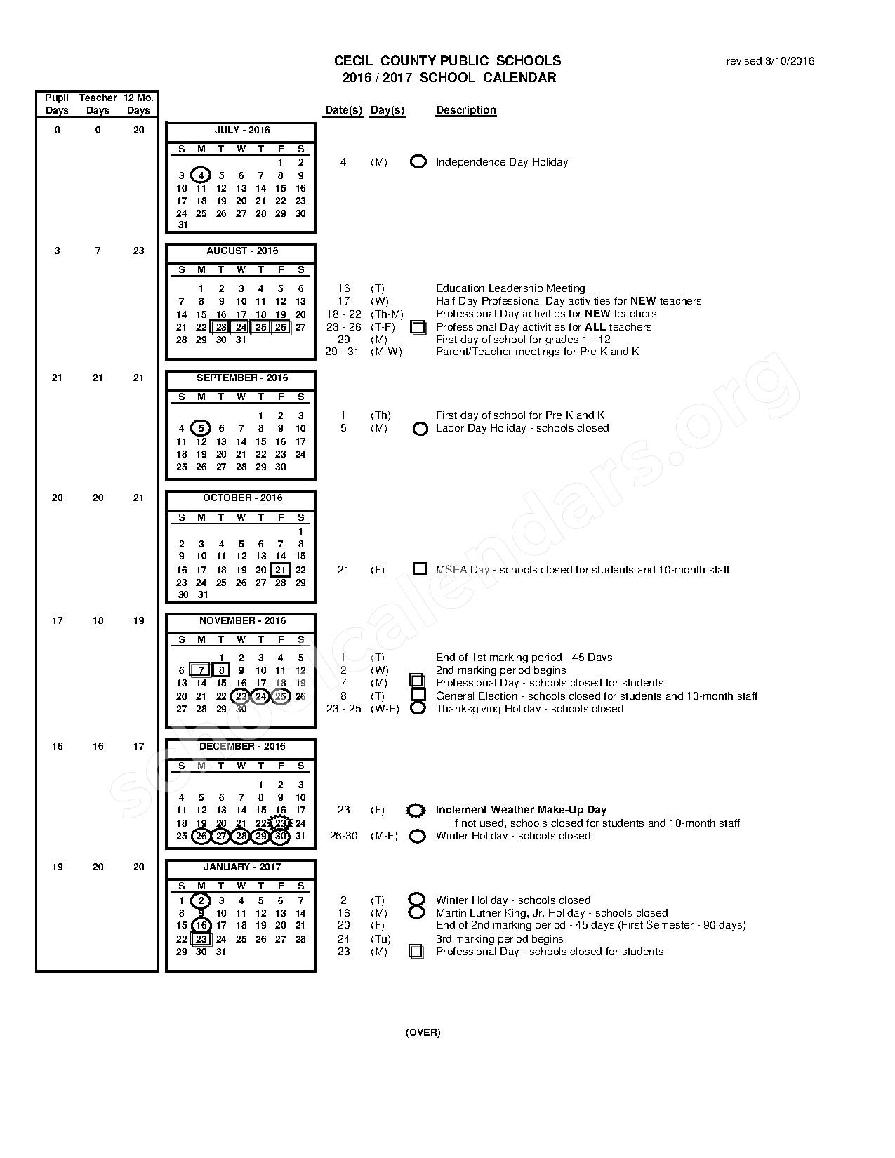 2016 - 2017 School Calendar – Elkton High School – page 1