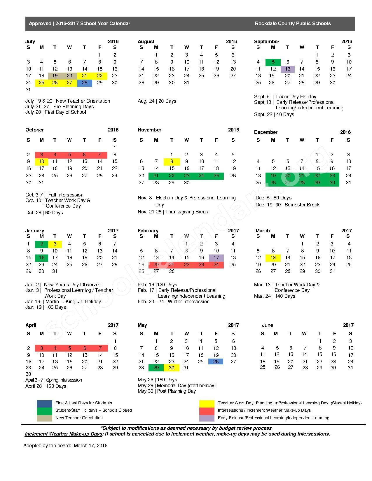 2016 - 2017 School Calendar – Edwards Middle School – page 1