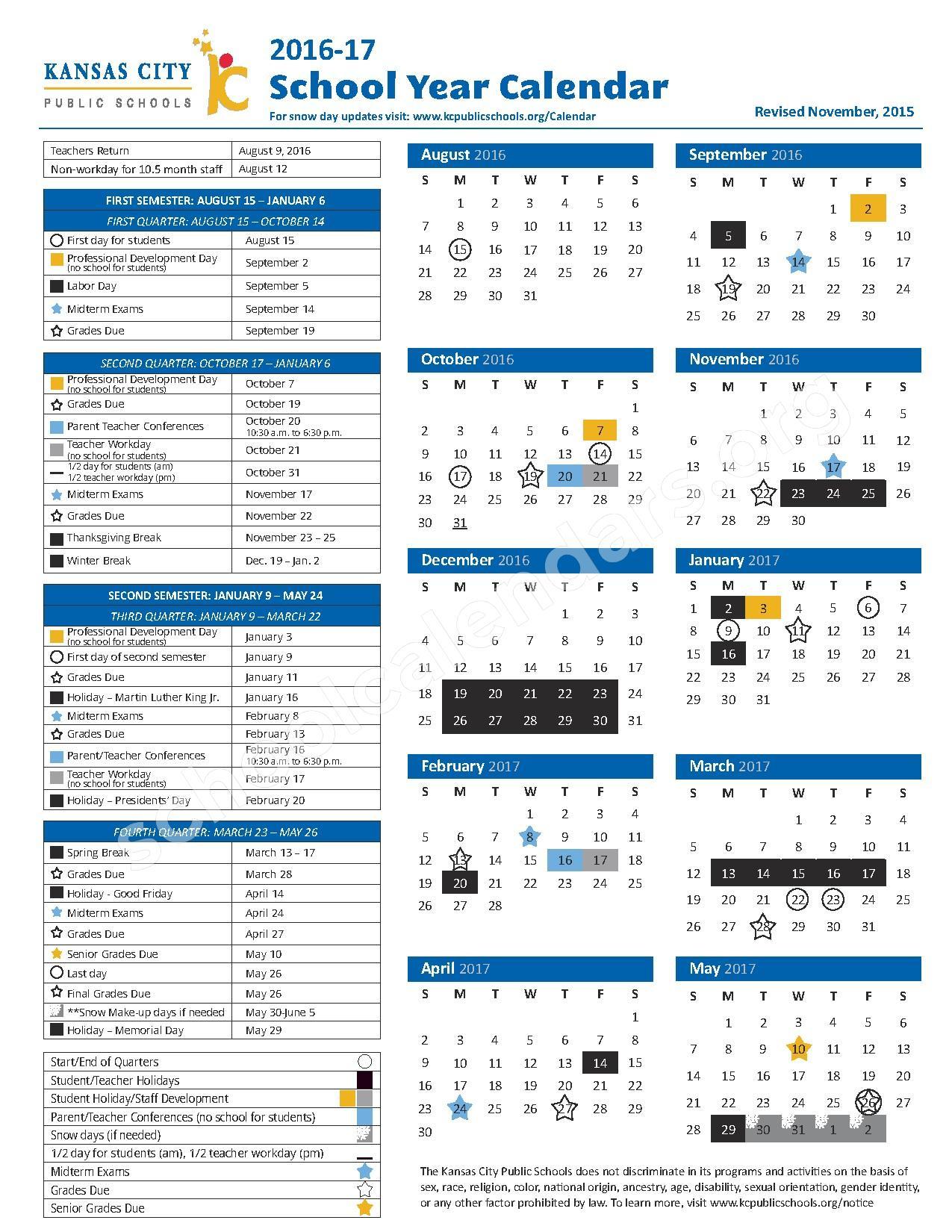 2016 - 2017 School Calendar – Wendell Phillips Elementary School – page 1