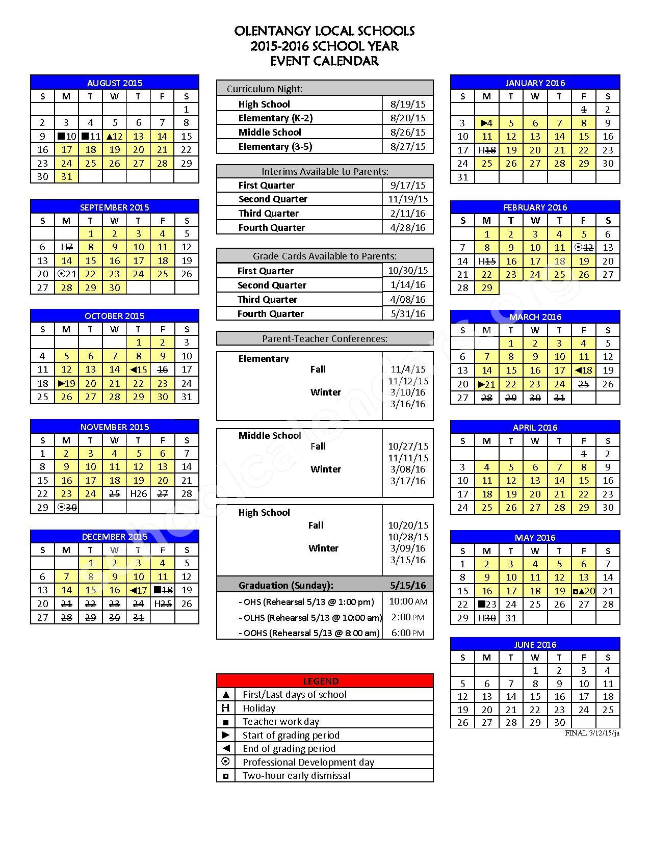 2015 - 2016 School Calendar – Olentangy Local School District – page 1