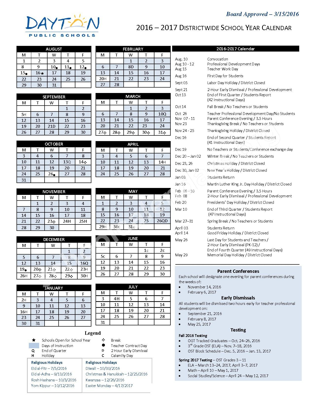 2016 - 2017 DPS Academic Calendar – World of Wonder PreK-8 School – page 1