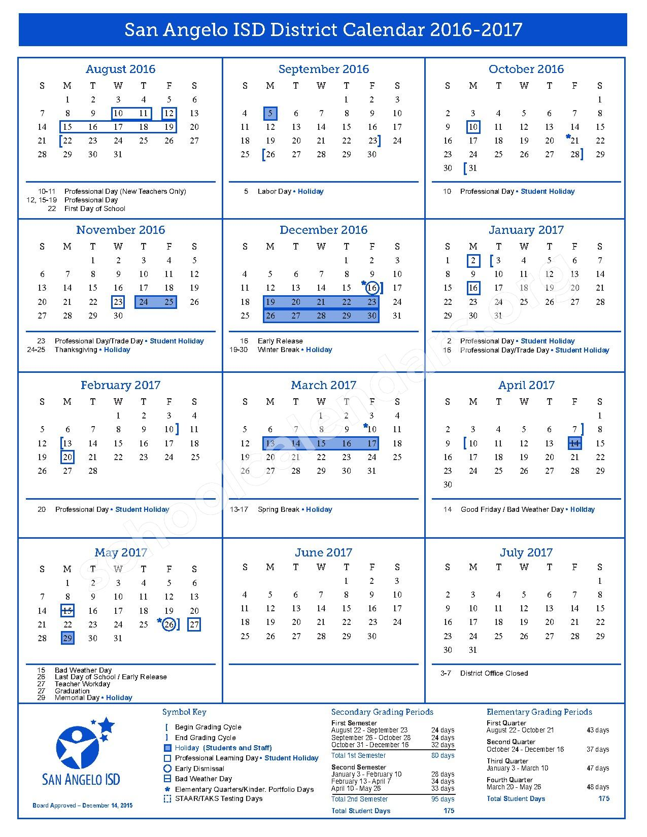 2016 - 2017 District Calendar – San Angelo Independent School District – page 1