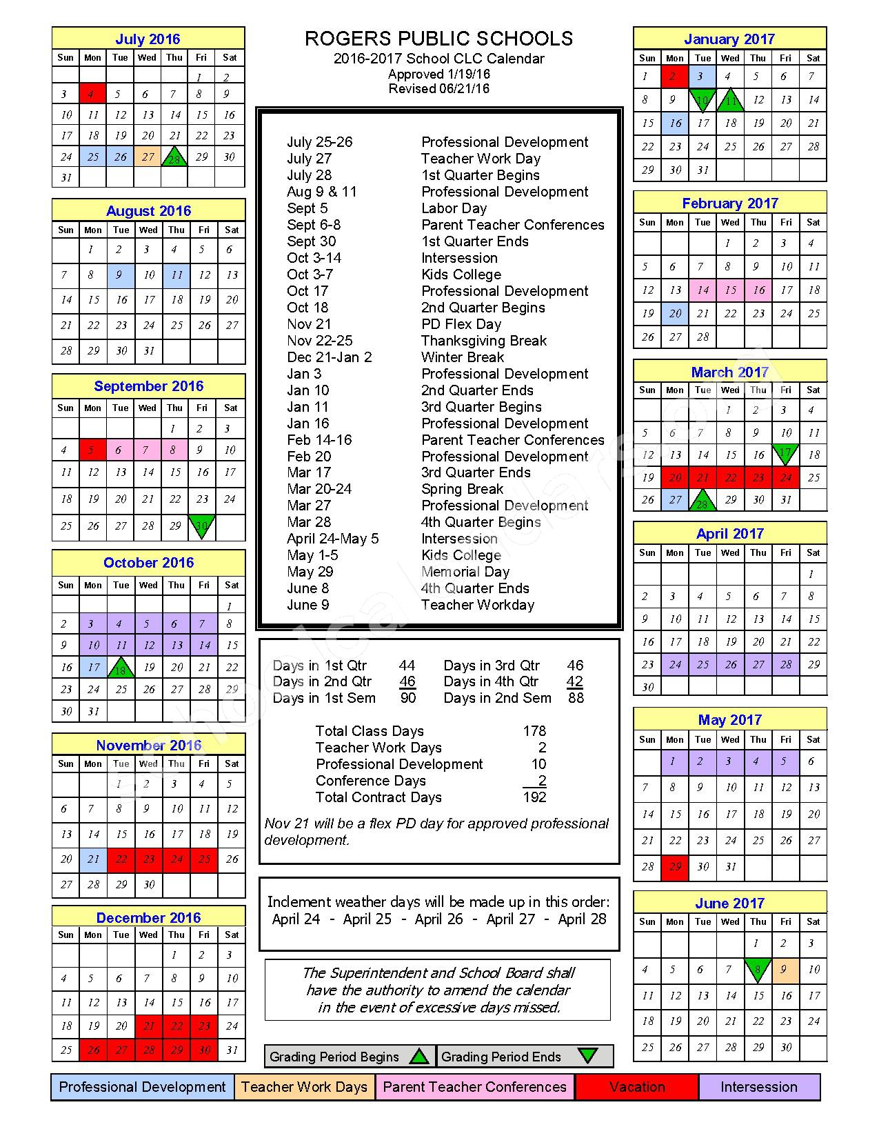 2016 - 2017 Continuous Learning Calendar – Rogers Public Schools – page 1