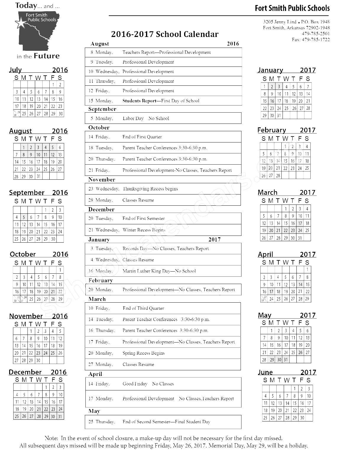 2016 - 2017 School Calendar – Fort Smith Public Schools – page 1
