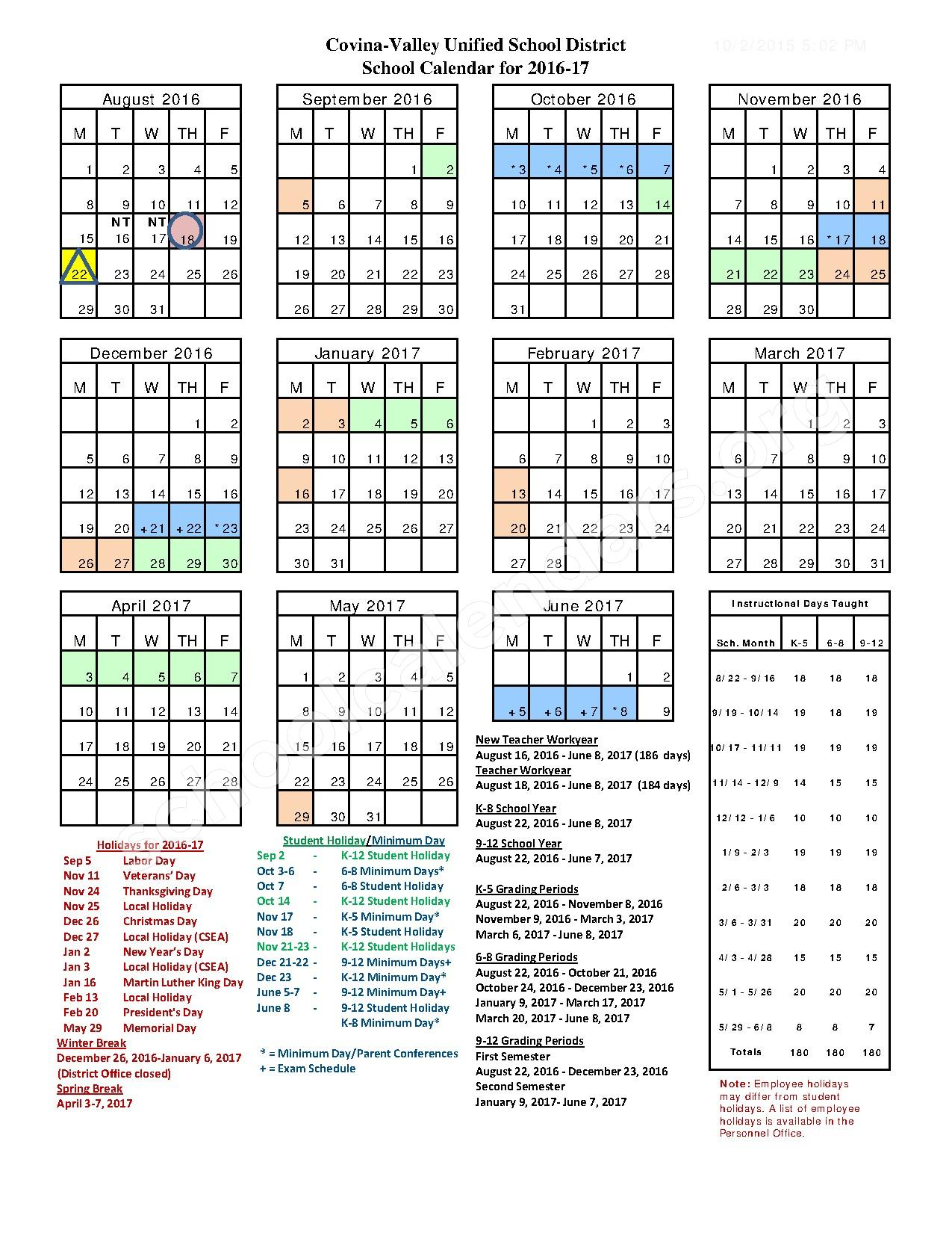 2016 - 2017 District Calendar – Covina-Valley Unified School District – page 1