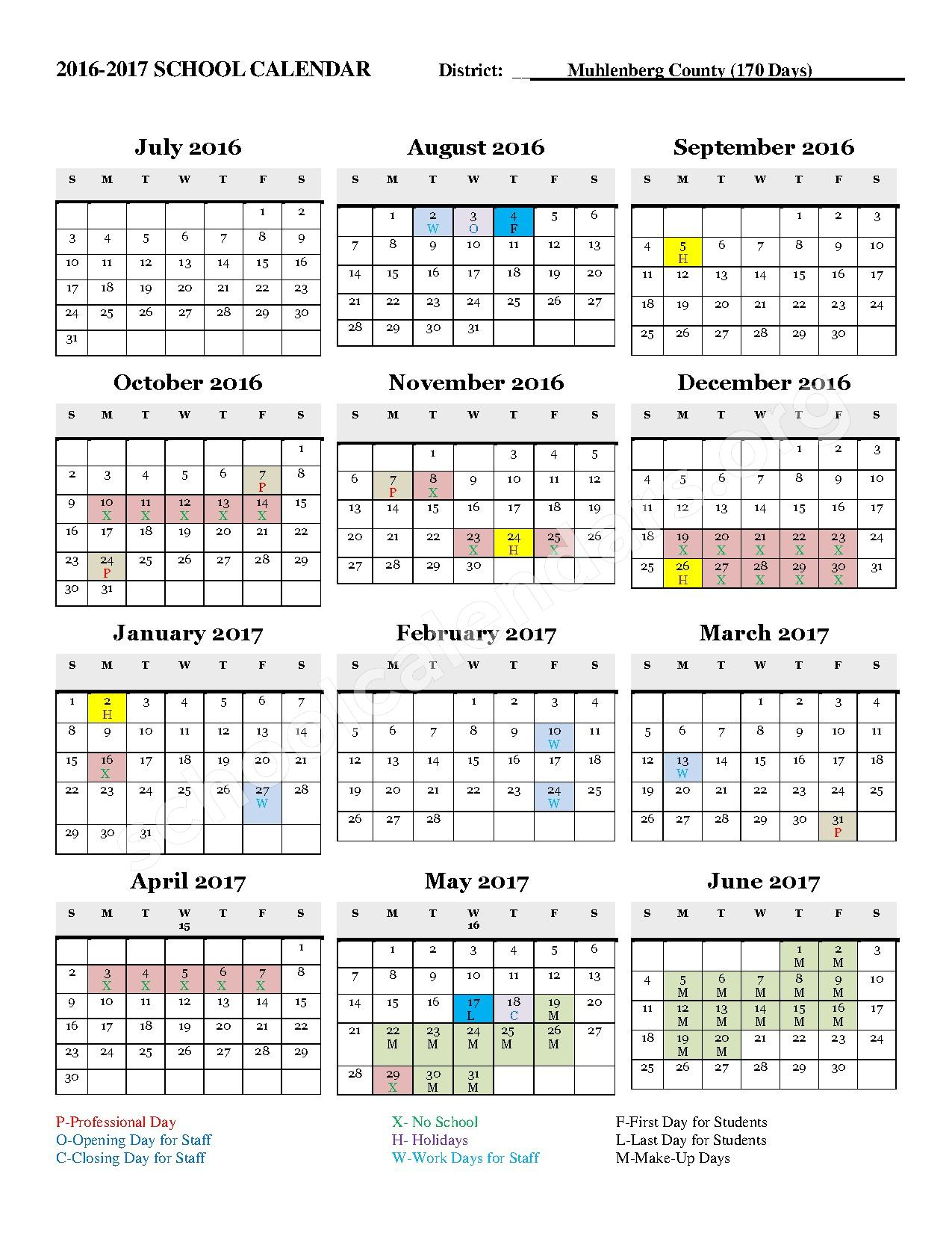 2016 - 2017 District Calendar – Bremen Elementary School – page 1