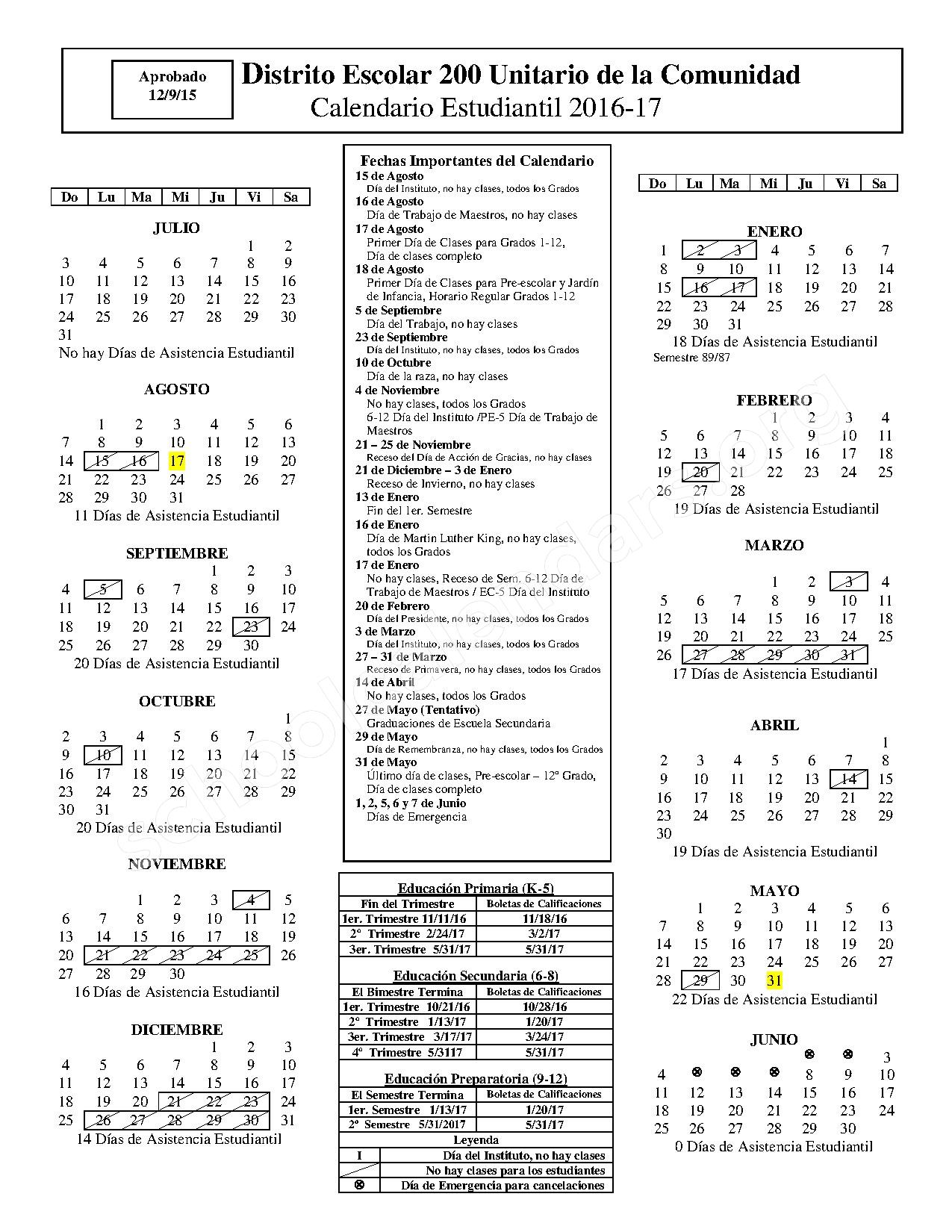 2016 - 2017 Calendario Escolar – Hubble Middle School – page 1