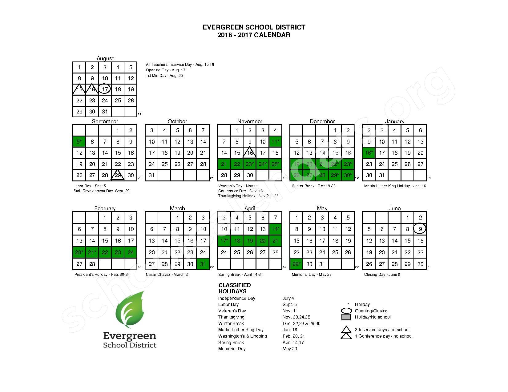 2016 - 2017 School Calendar – Evergreen School District – page 1