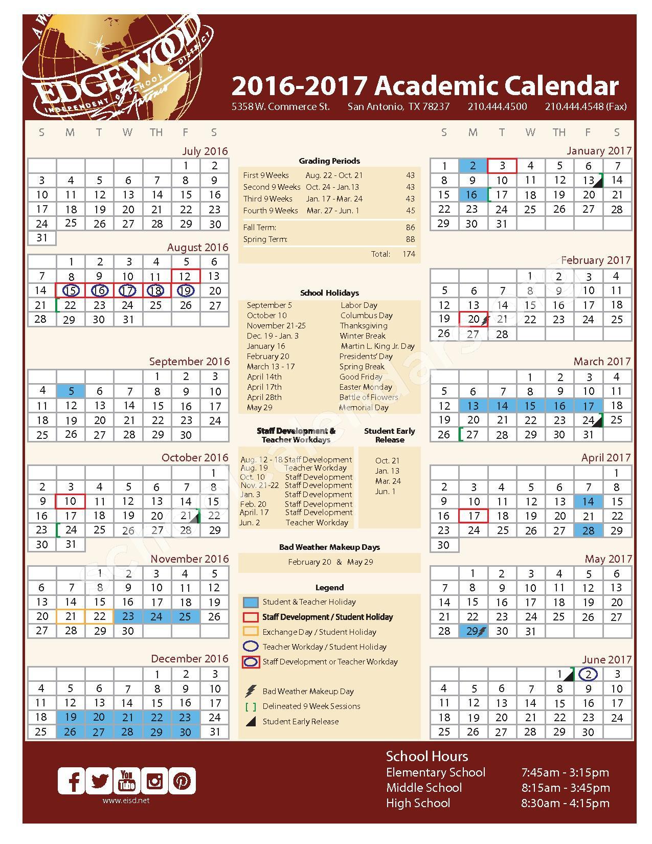 2016 - 2017 Academic Calendar – Edgewood Independent School District (Bexar County) – page 1