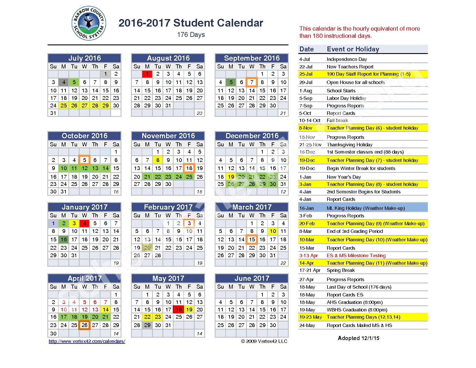 2016 - 2017 Student Calendar – Barrow County School District – page 1