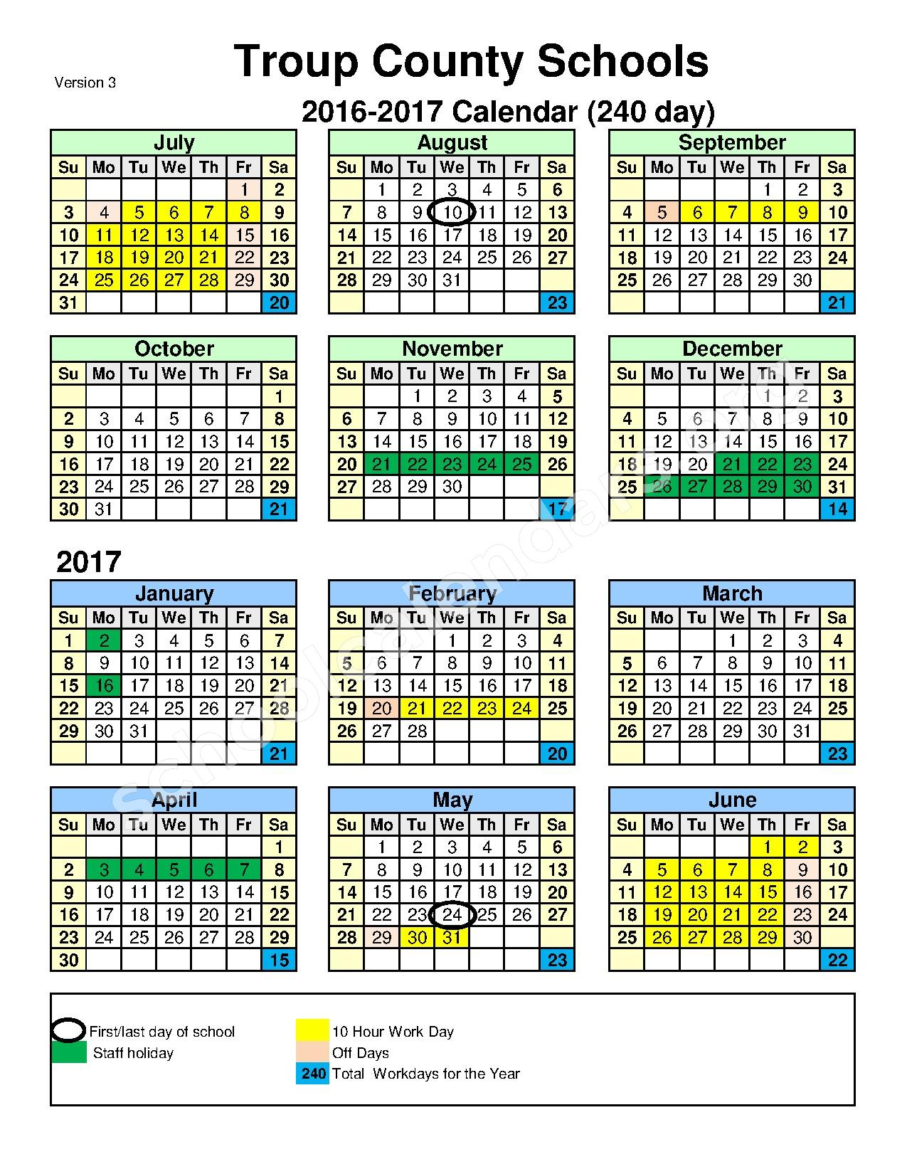 2016 - 2017 School Calendar – Troup County School District – page 1