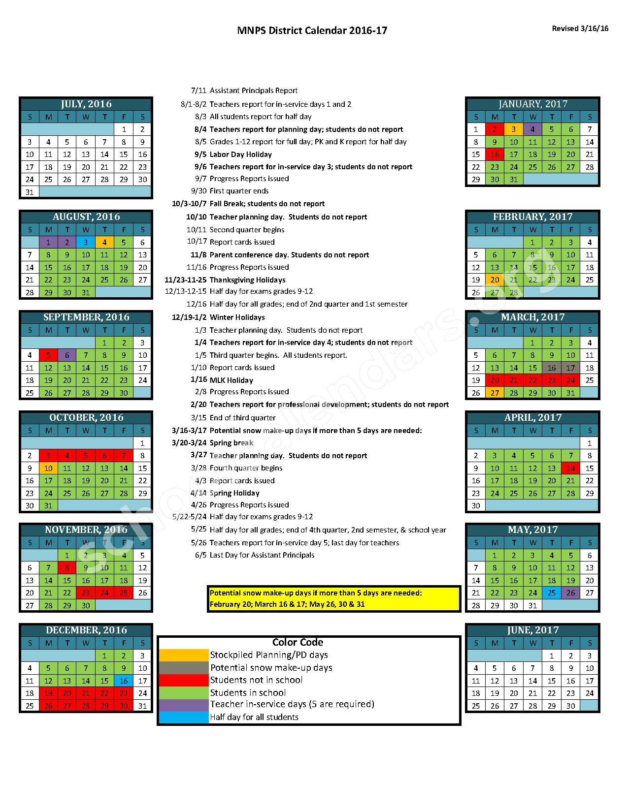 2016 - 2017 District Calendar – Shwab Elementary School – page 1