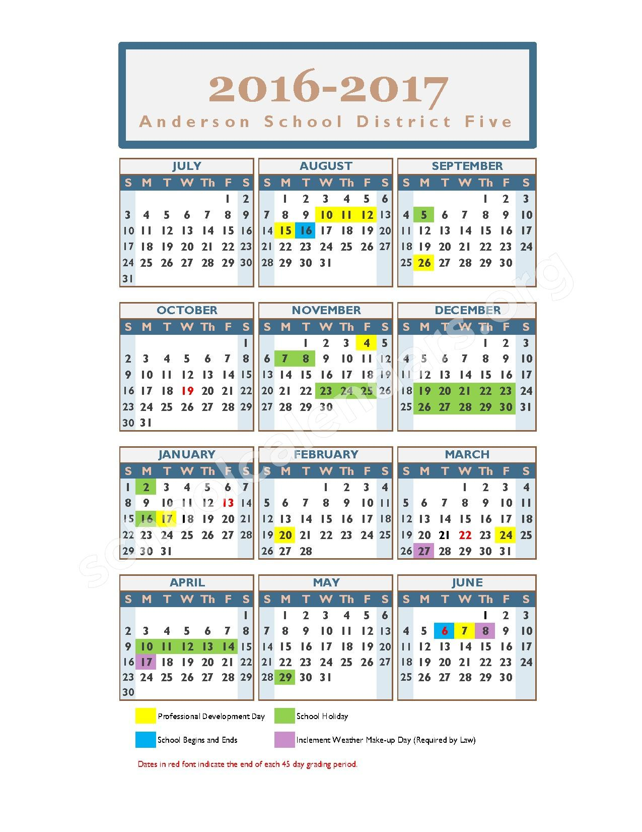 2016 - 2017 School Calendar – Lakeside Middle School – page 1