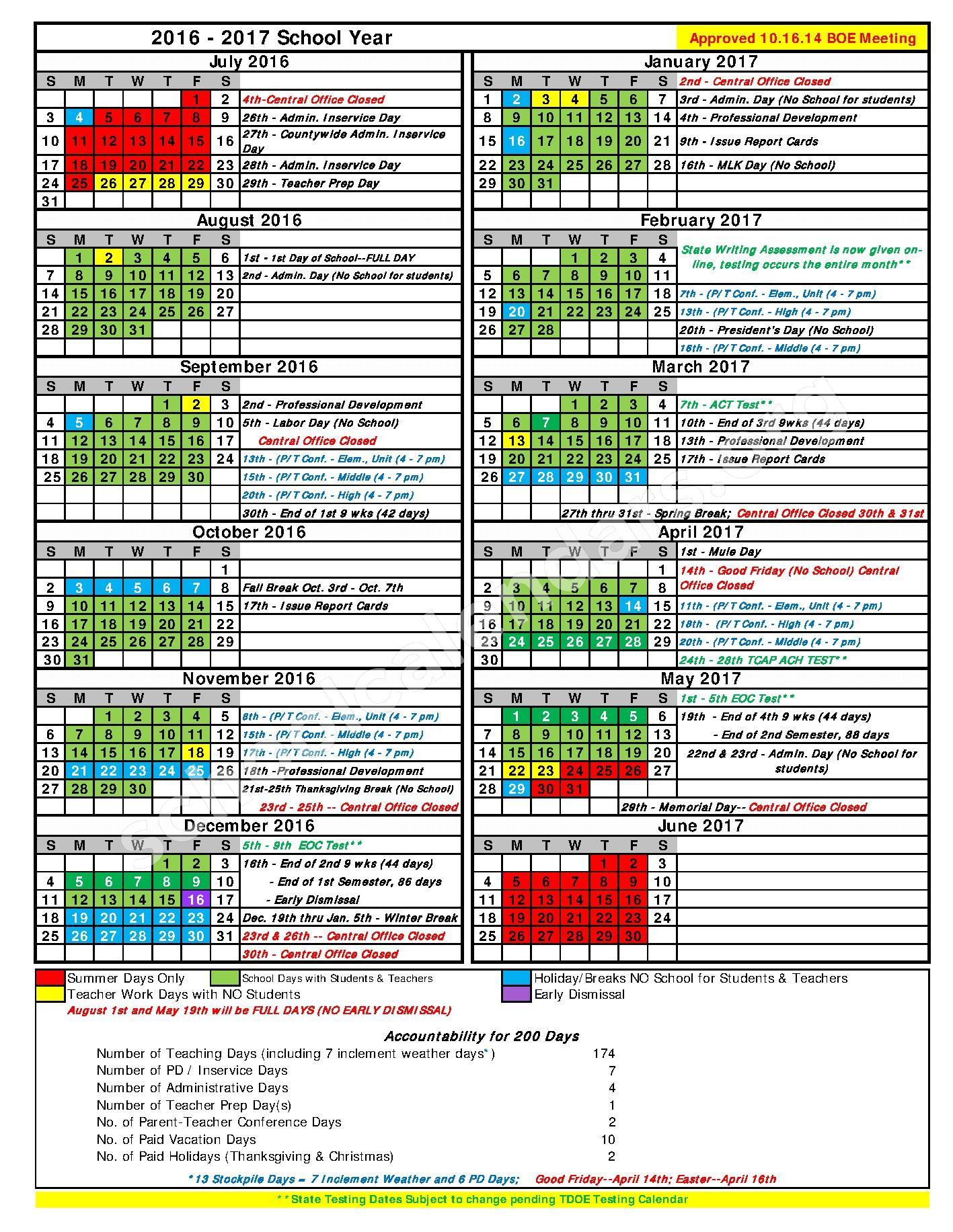 2016 - 2017 School Calendar – Highland Park Elementary School – page 1