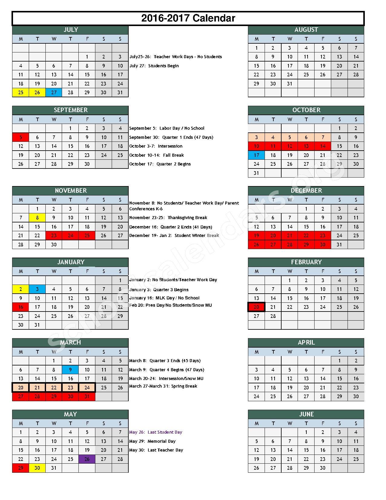 2016 - 2017 School Calendar – S Ellen Jones Elementary School – page 1