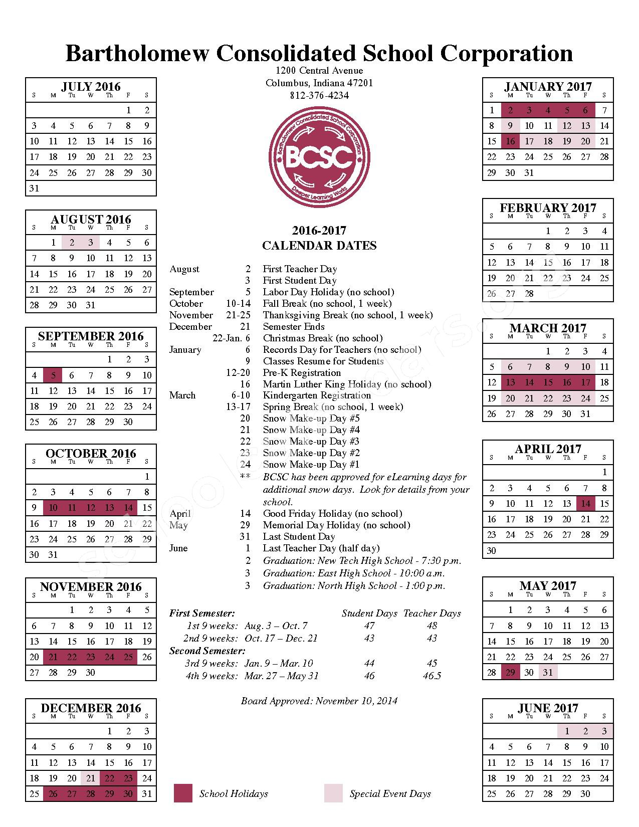 2016 - 2017 School Calendar – Clifty Creek Elementary School – page 1