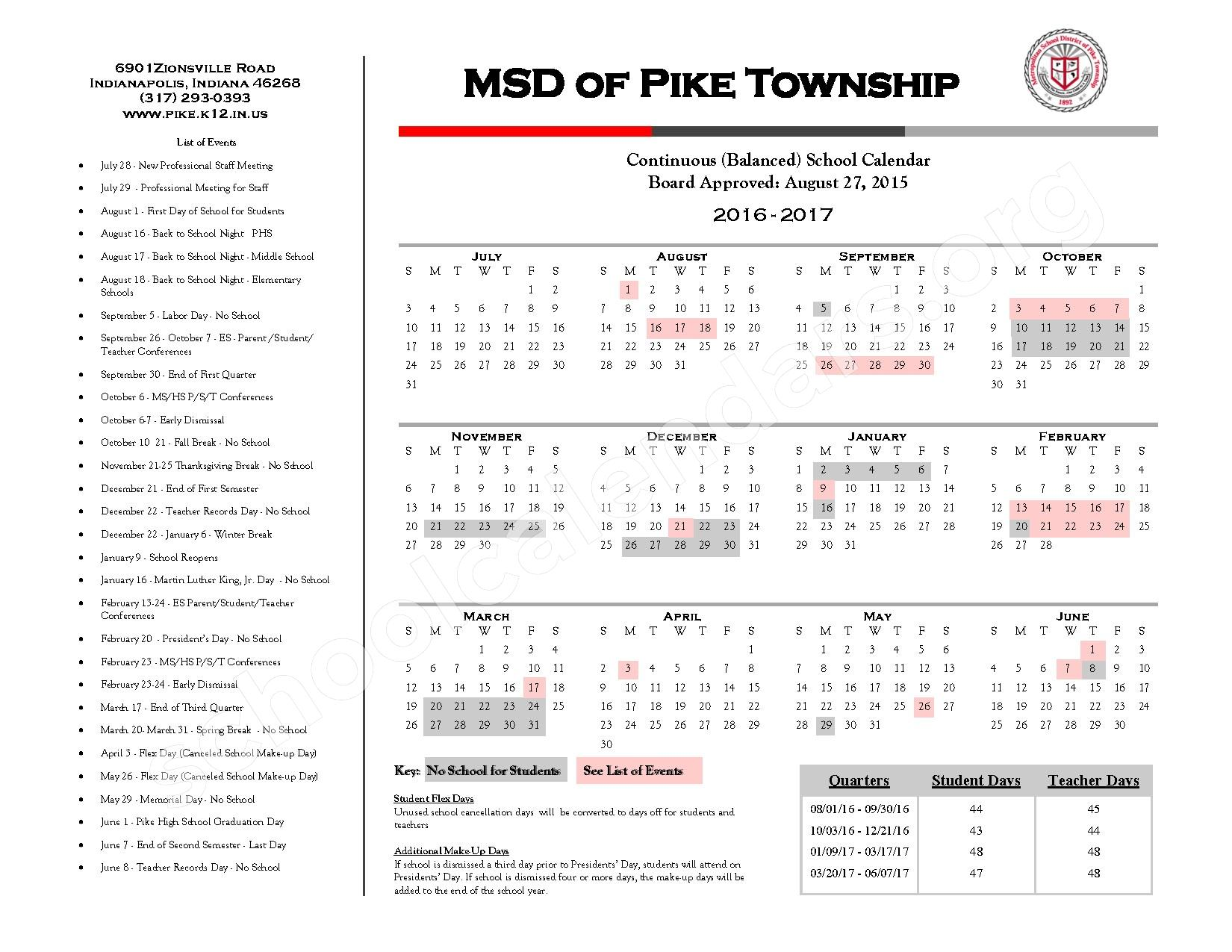 2016 - 2018 Continuous Calendar – New Augusta Public Academy-North – page 1