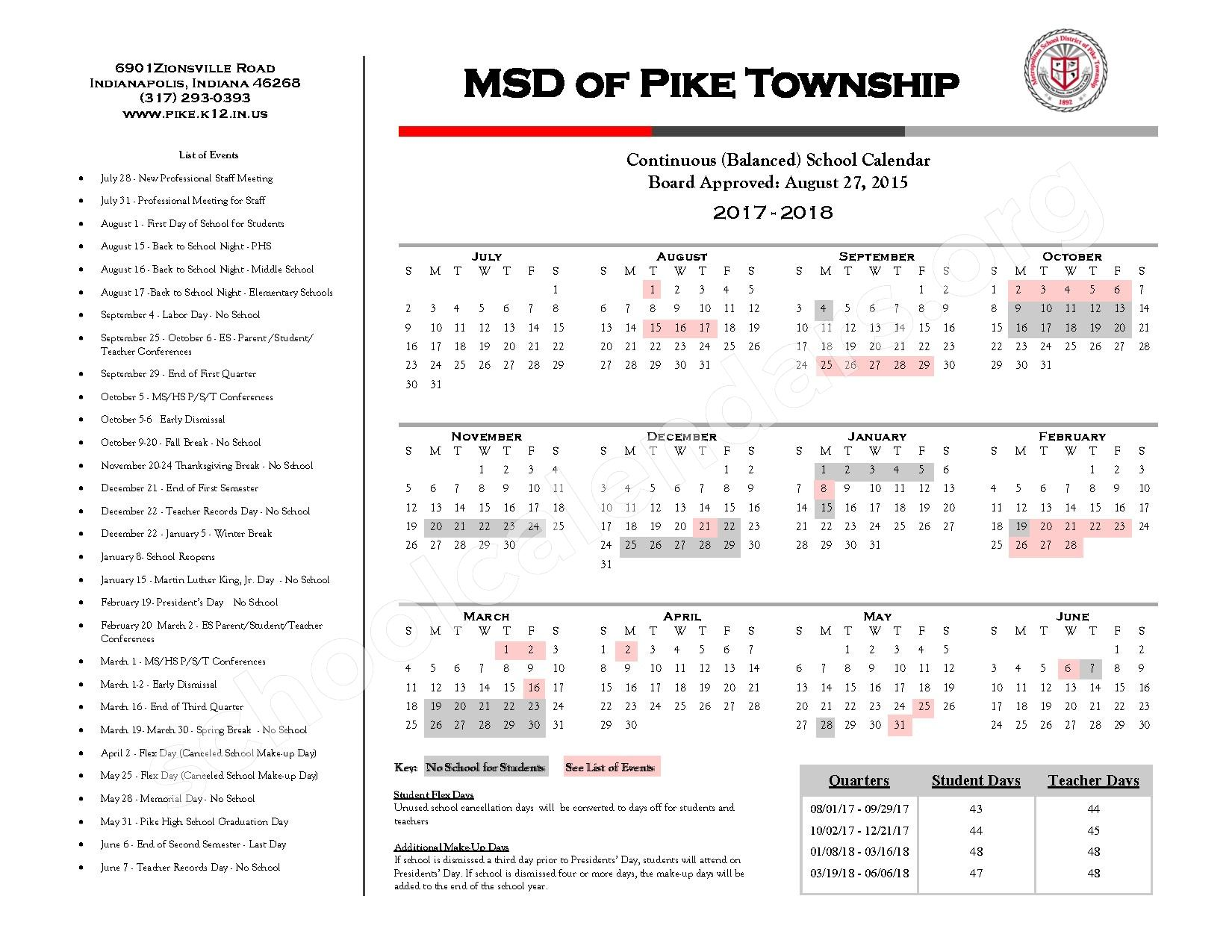 2016 - 2018 Continuous Calendar – New Augusta Public Academy-North – page 2