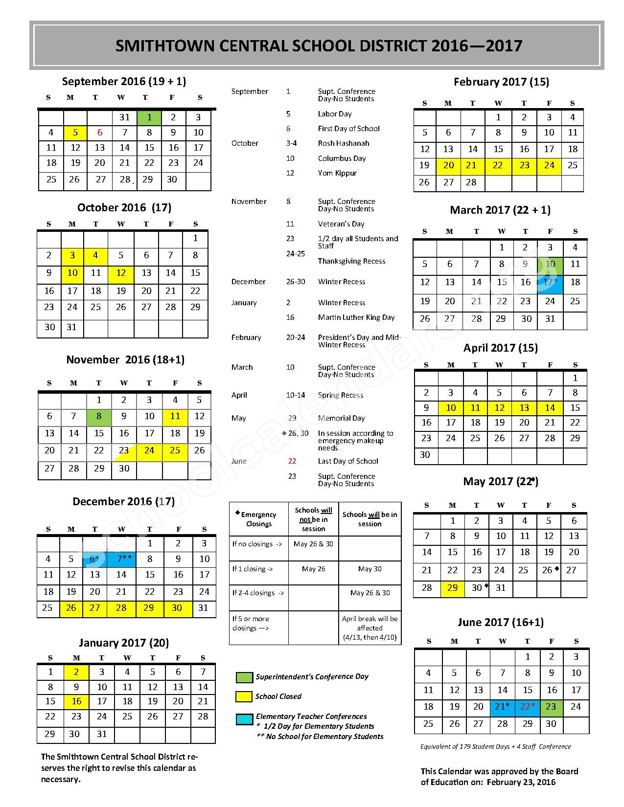 2016 - 2017 District Calendar – Smithtown Central School District – page 1