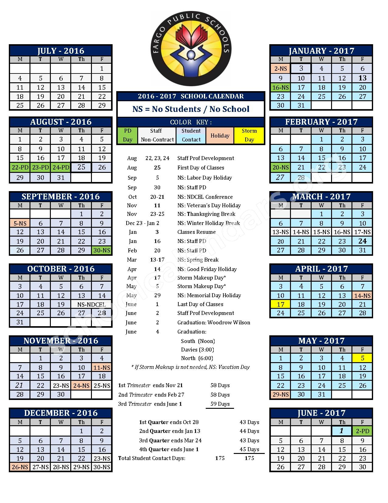 2016 - 2017 District Calendar – North High School – page 1