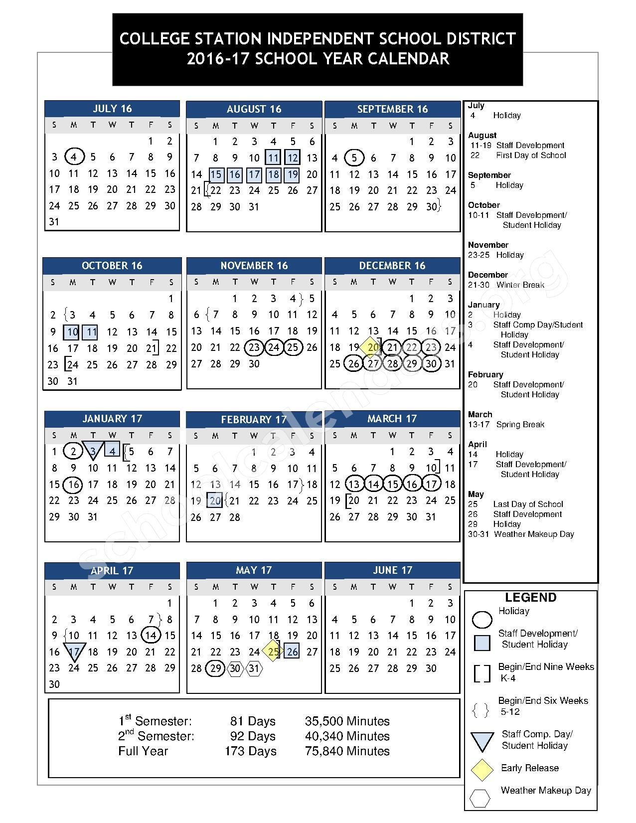 2016 - 2017 School Calendar – College Station Independent School District – page 1