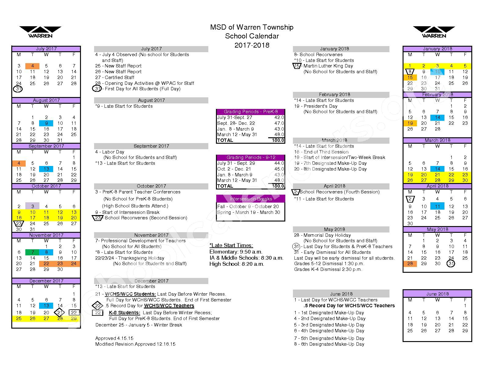 2017 - 2018 School Calendar – Metropolitan School District of Warren Township – page 1