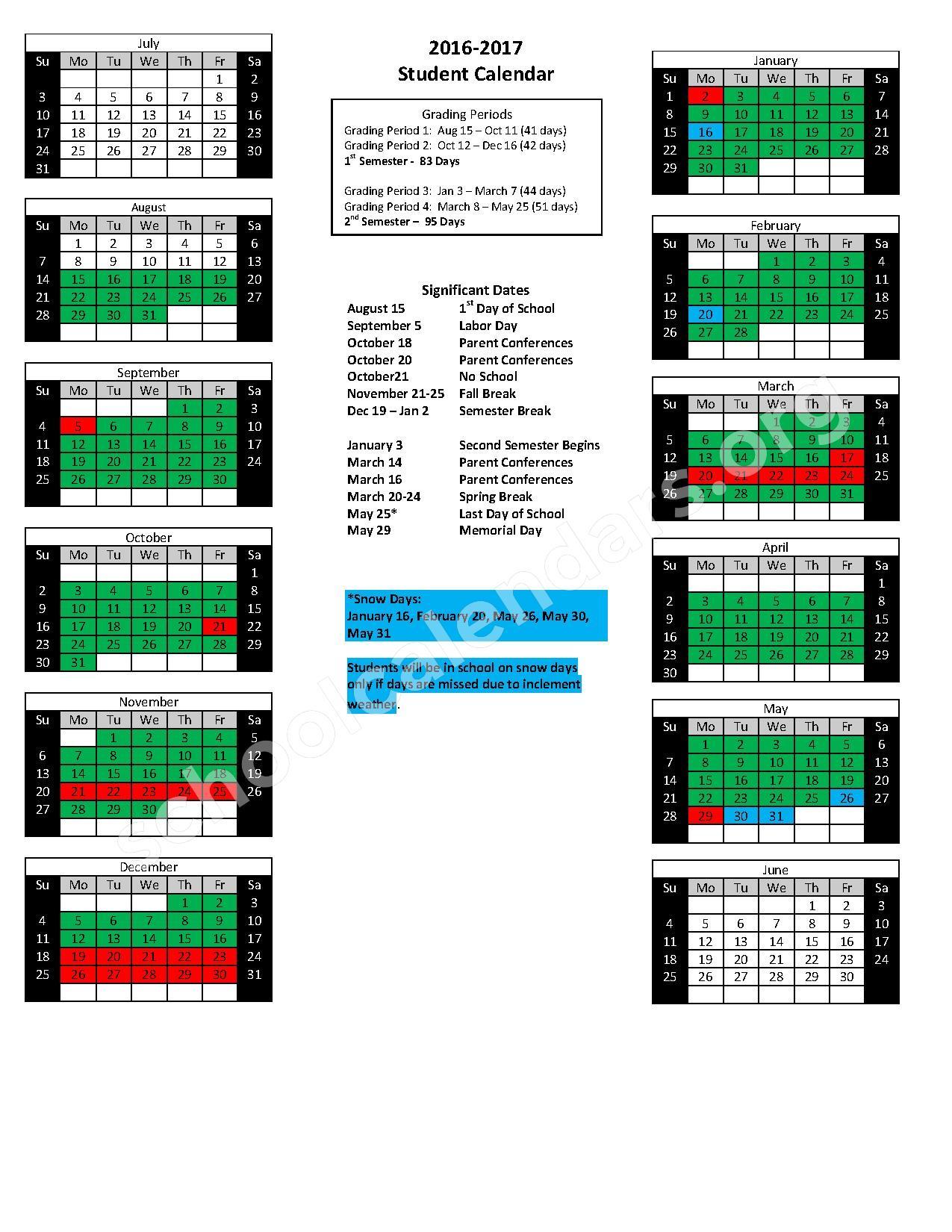 2016 - 2017 School Calendar – Cabot Junior High North – page 1