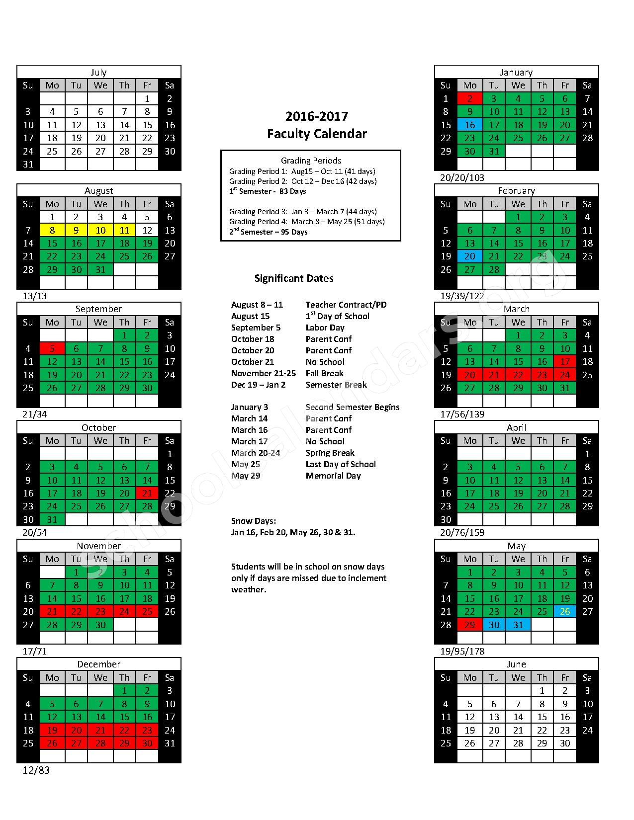 2016 - 2017 School Calendar – Cabot Junior High North – page 1