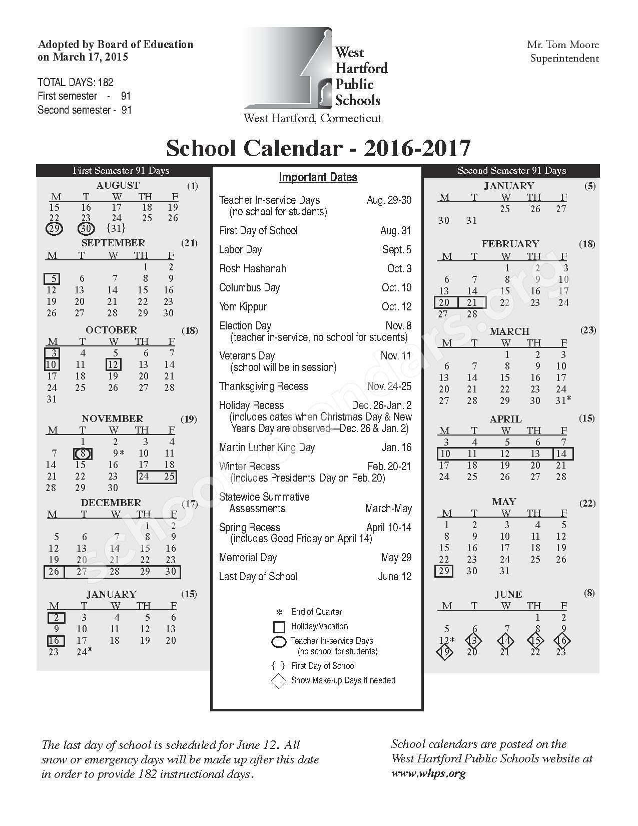 2016 - 2017 School Calendar – West Hartford Public Schools – page 1
