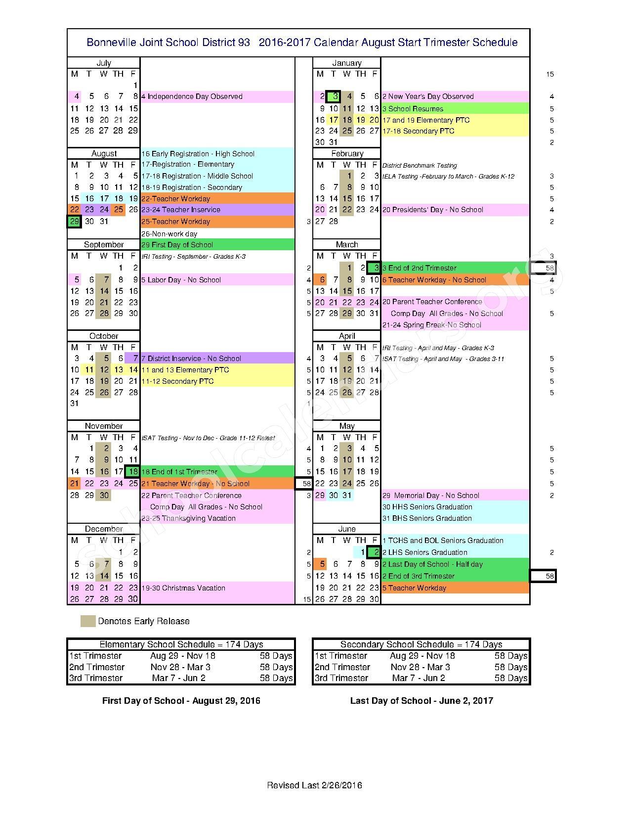 2016 - 2017 School Calendar – Bonneville Joint School District #93 – page 1