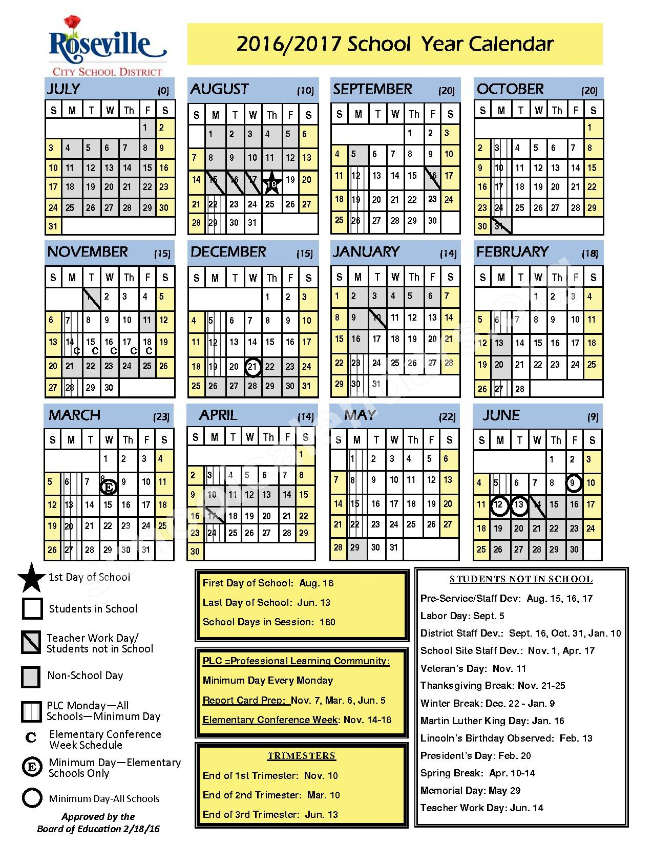 2016-2017 School Calendar – Roseville City School District – page 1