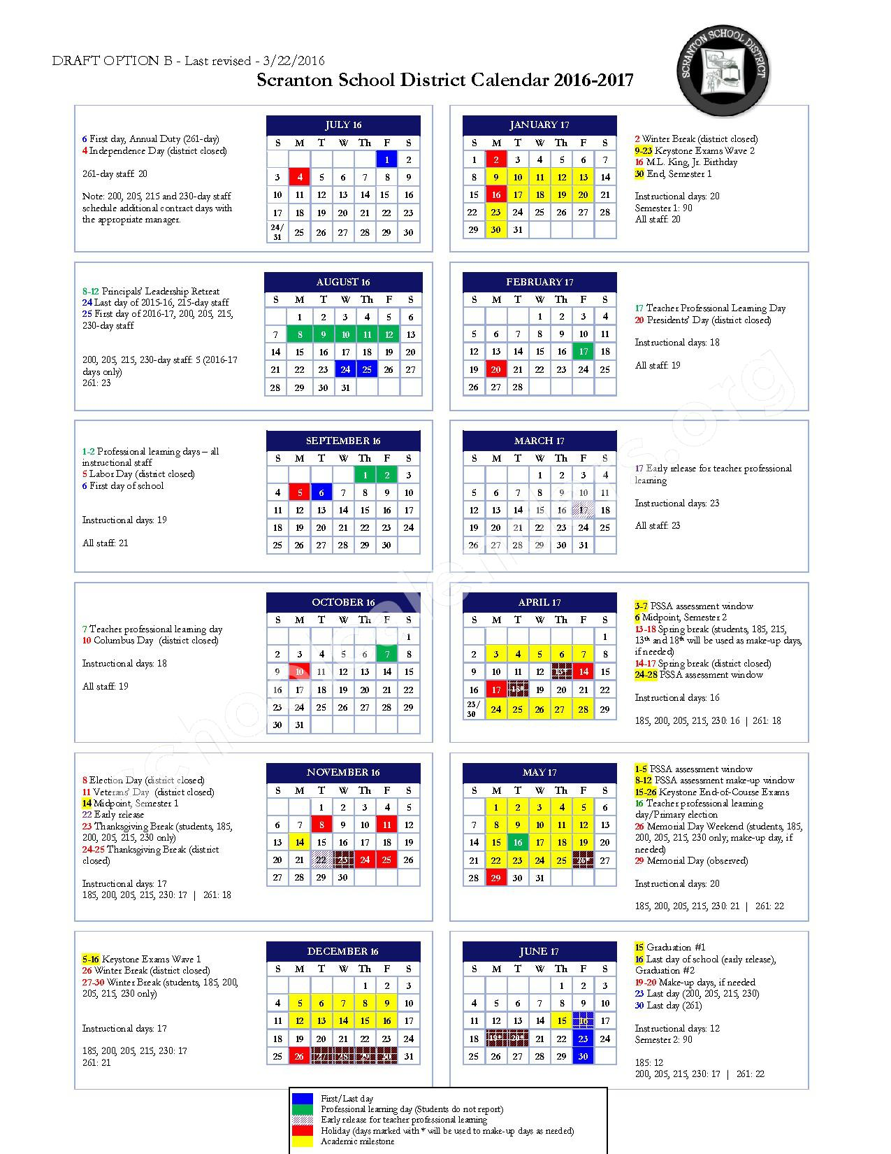2016 - 2017 School Calendar – Scranton School District – page 1