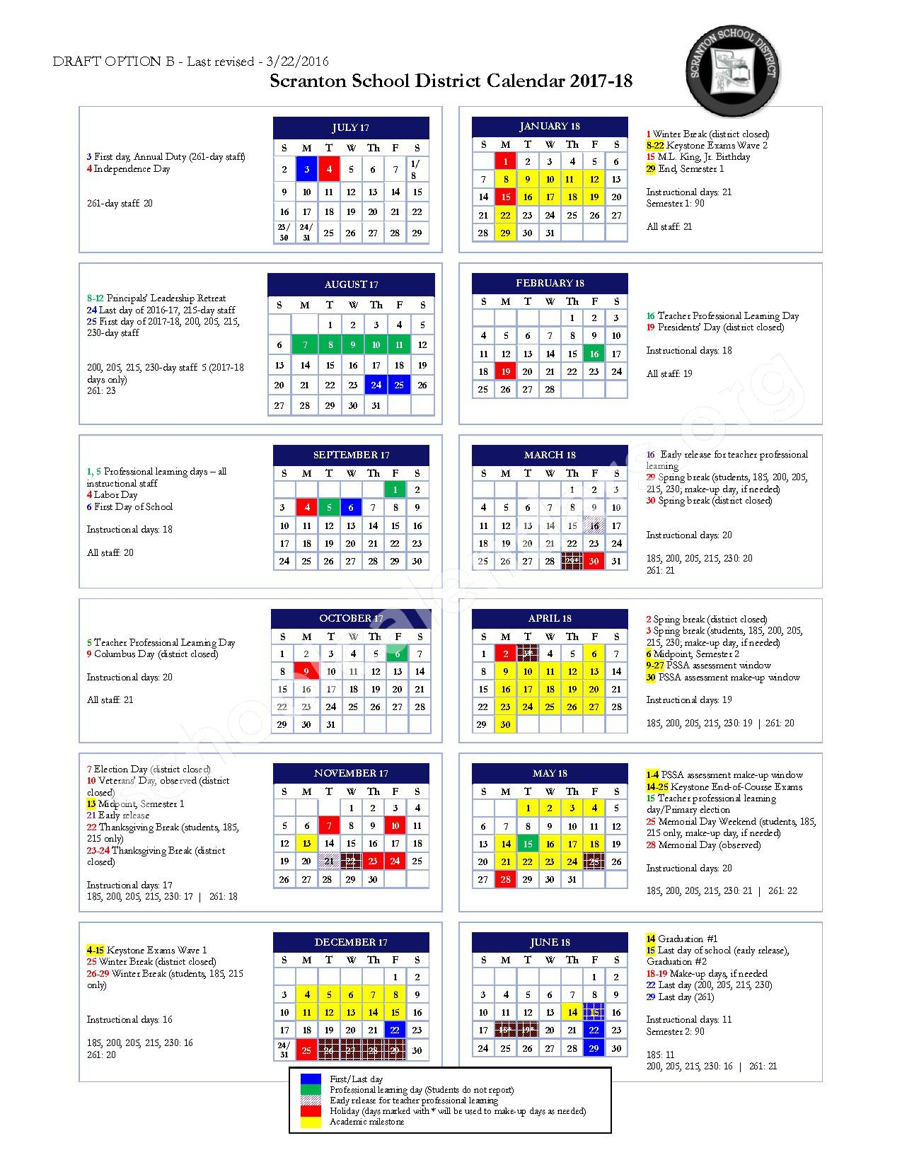 2017 - 2018 School Calendar – Scranton School District – page 1