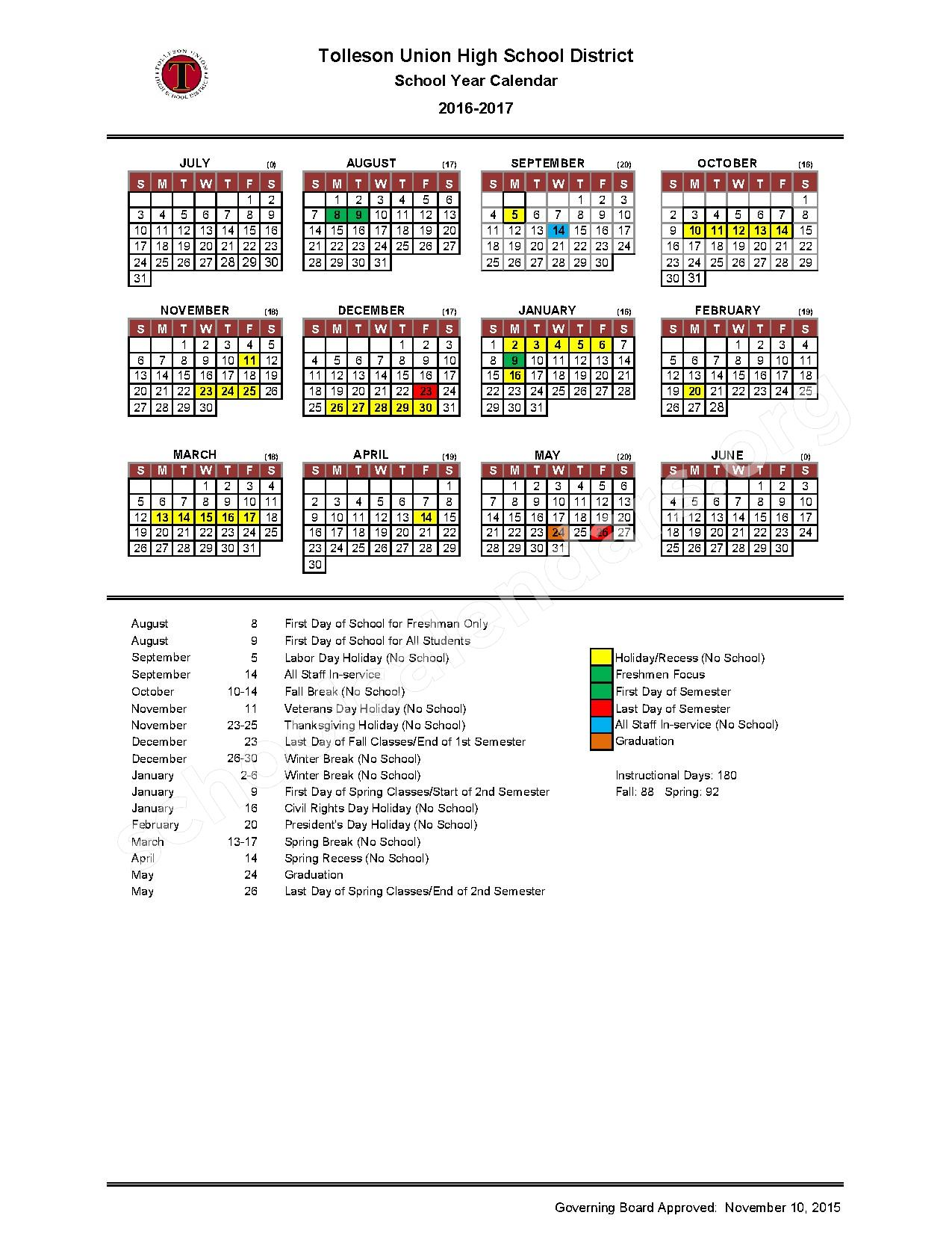 2016 - 2017 District Calendar – Tolleson Union High School District – page 1
