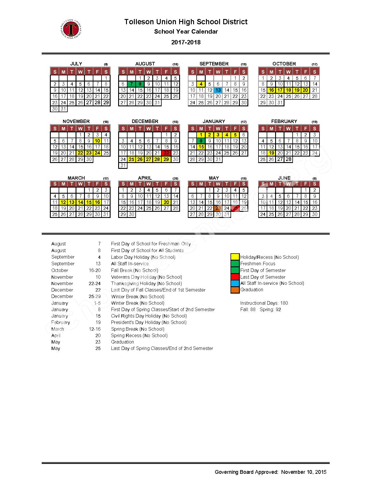 2017 - 2018 District Calendar – Tolleson Union High School District – page 1