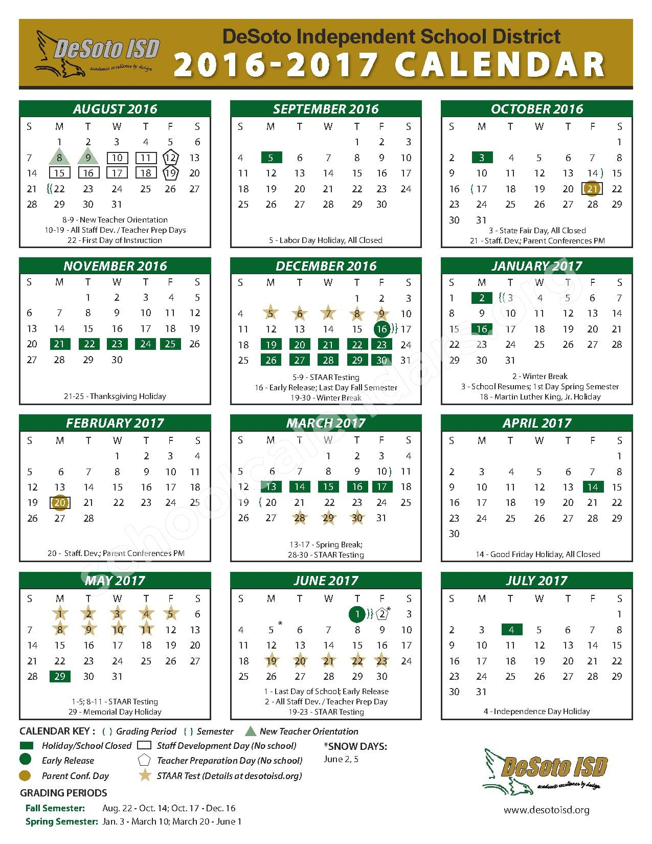 2016 - 2017 School Calendar – Desoto Independent School District – page 1