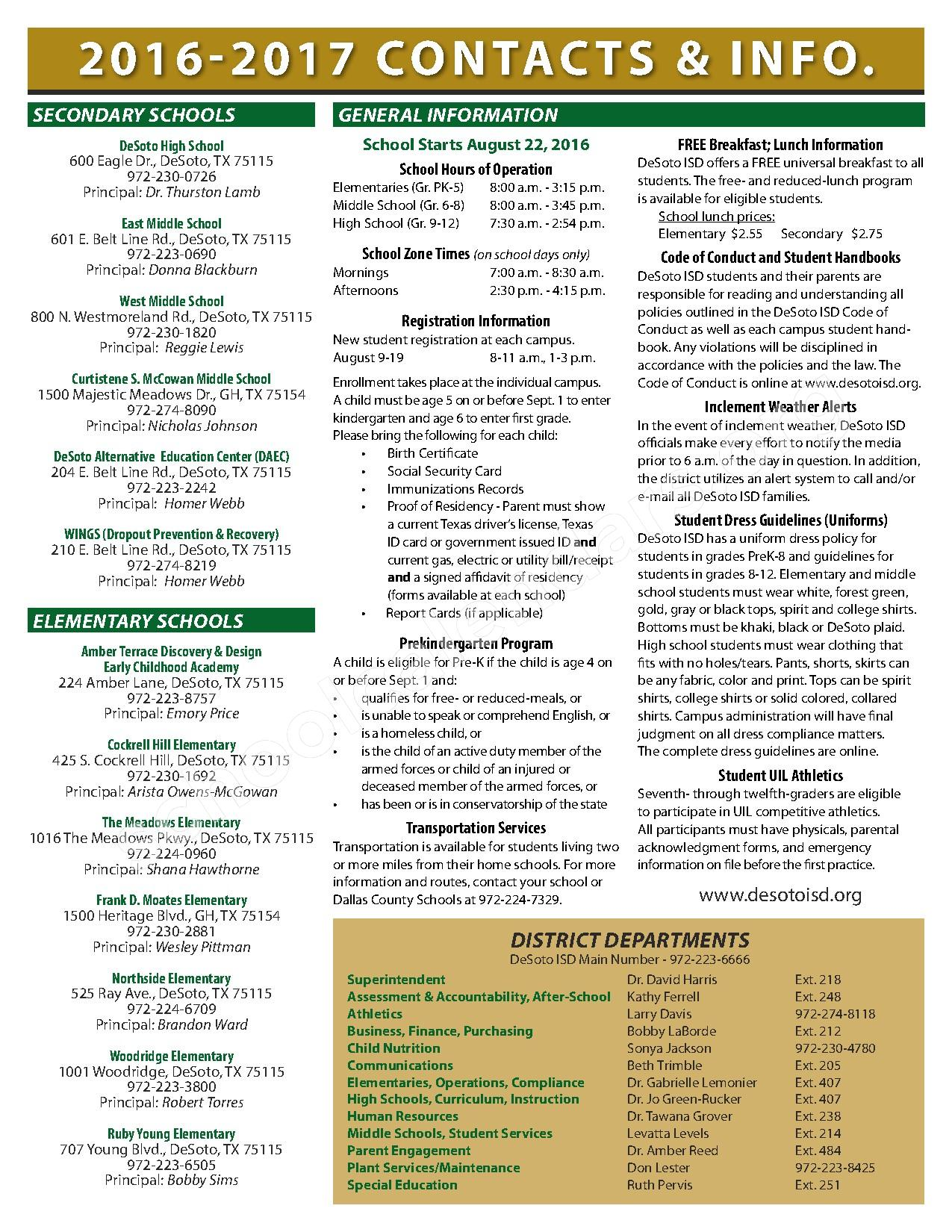 2016 - 2017 School Calendar – Desoto Independent School District – page 2