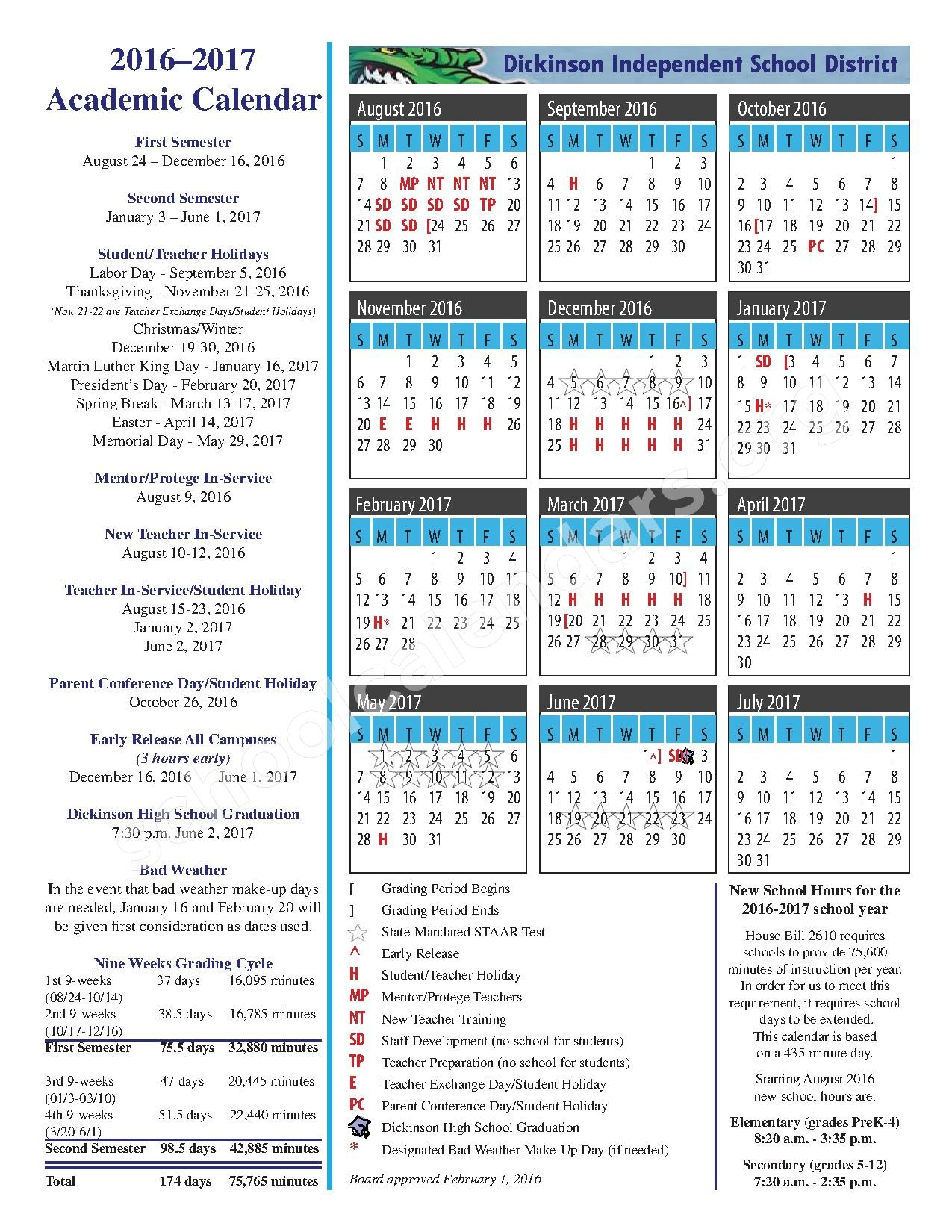 2016 - 2017 School Calendar – Dickinson Independent School District – page 1