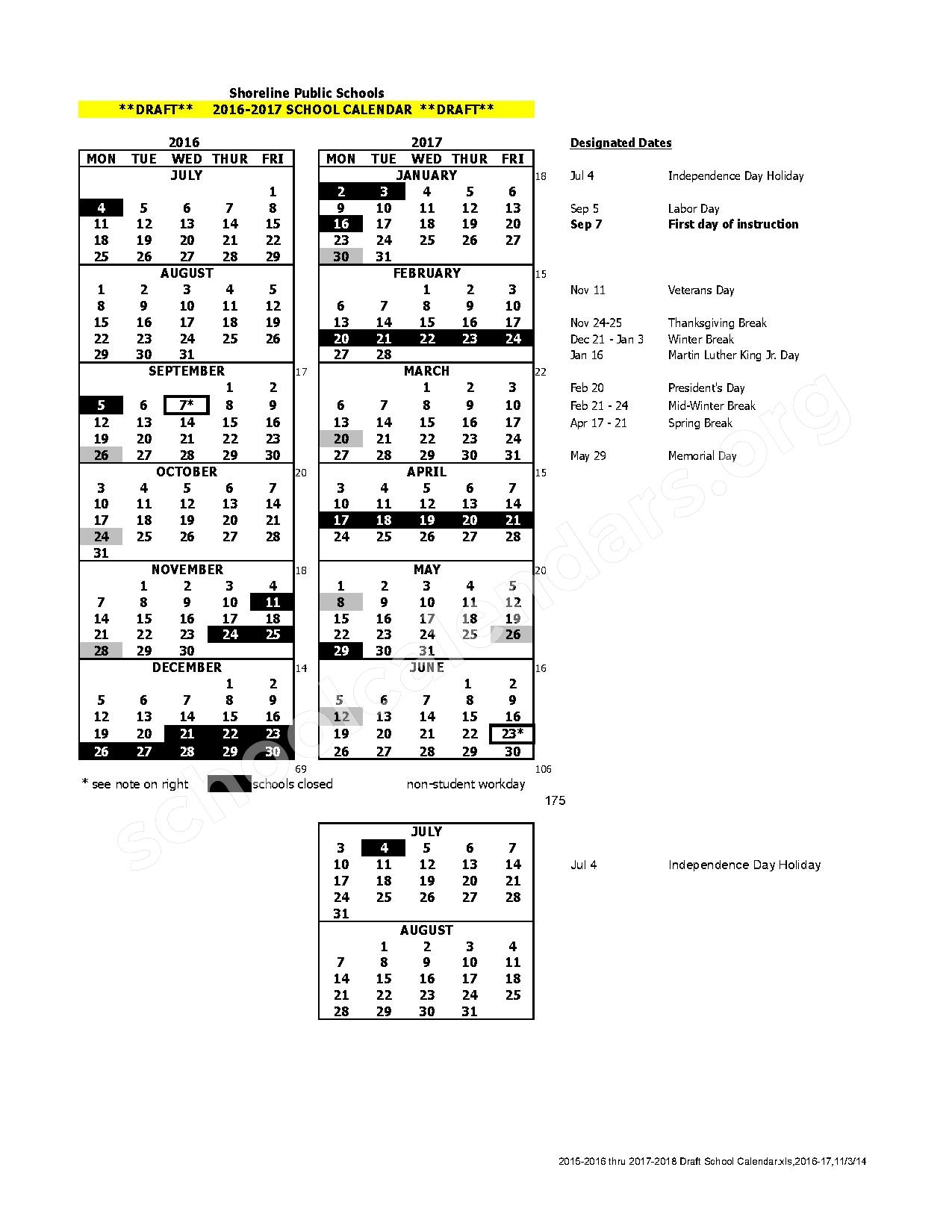 2016 - 2017 School Calendar Draft – Shoreline School District – page 1