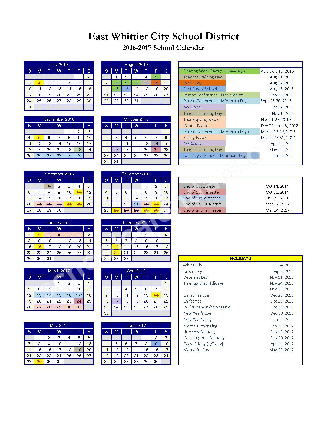 2016-2017 District Calendar – Scott Avenue Elementary School – page 1