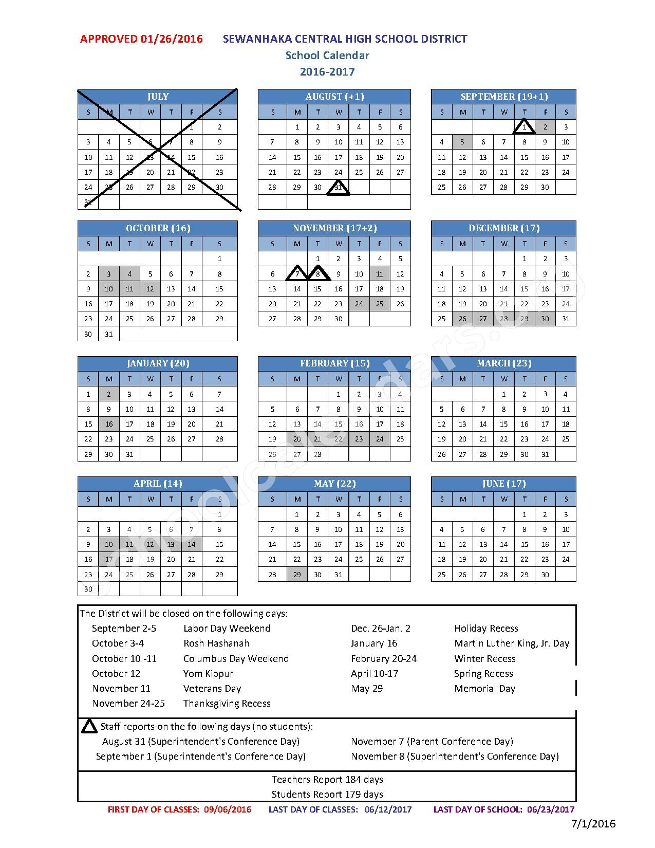 2016 - 2017 District Calendar – Sewanhaka High School – page 1