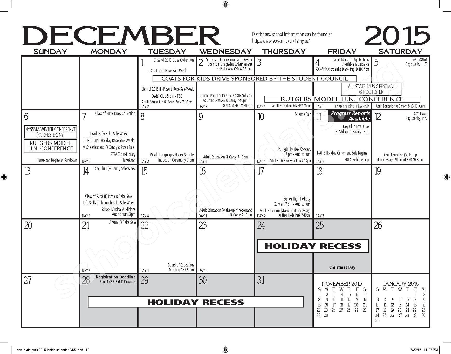 2015 - 2016 New Hyde Park Memorial HS Calendar – New Hyde Park Memorial High School – page 10