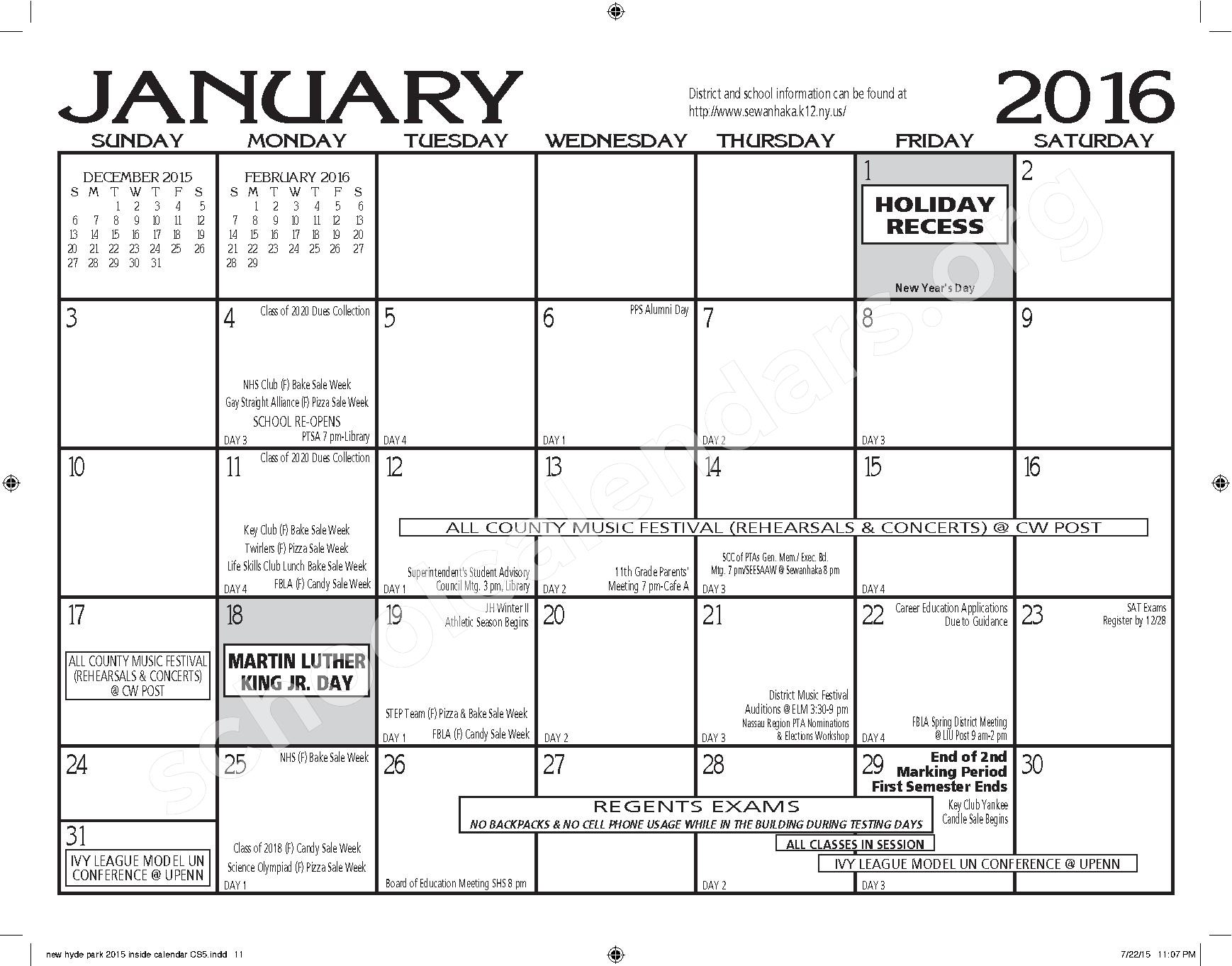 2015 - 2016 New Hyde Park Memorial HS Calendar – New Hyde Park Memorial High School – page 11