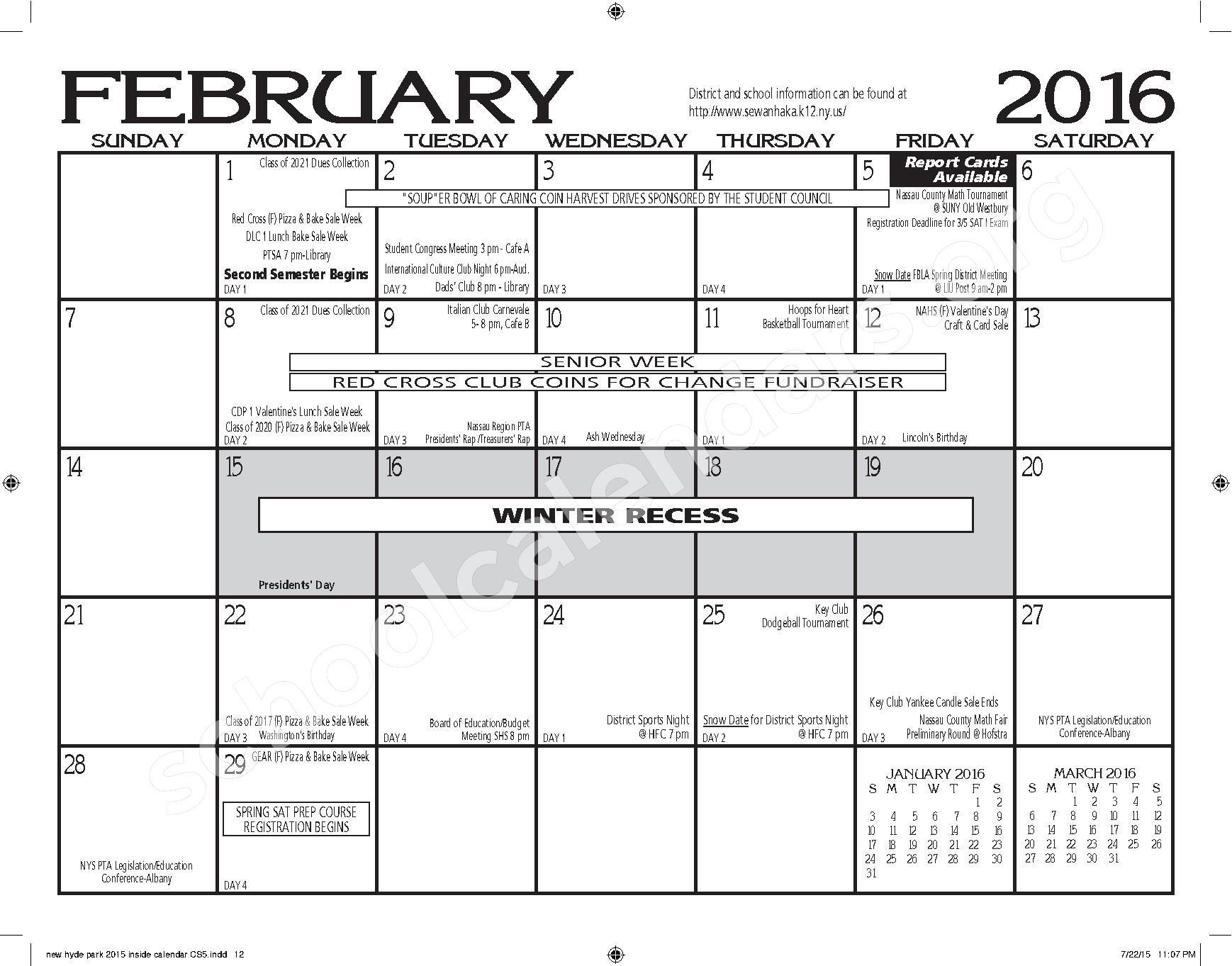 2015 - 2016 New Hyde Park Memorial HS Calendar – New Hyde Park Memorial High School – page 12
