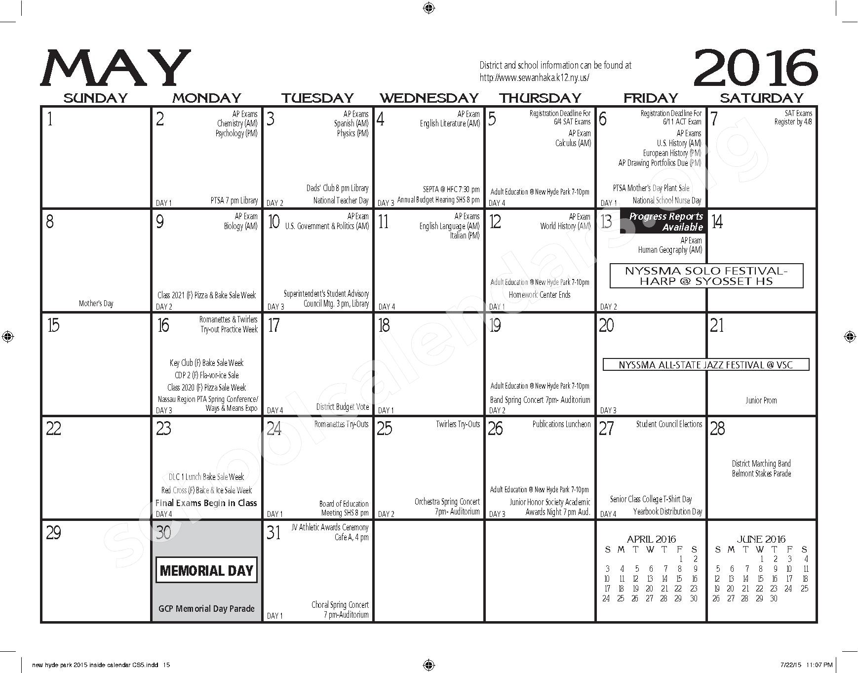 2015 - 2016 New Hyde Park Memorial HS Calendar – New Hyde Park Memorial High School – page 15