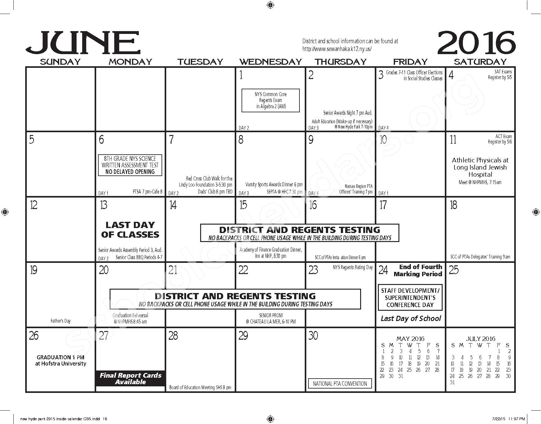 2015 - 2016 New Hyde Park Memorial HS Calendar – New Hyde Park Memorial High School – page 16
