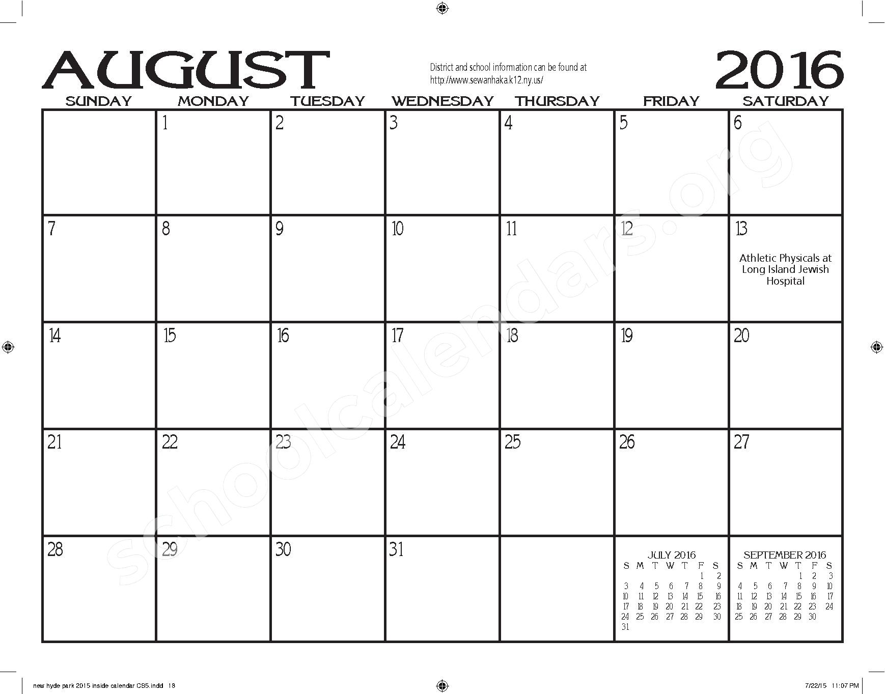 2015 - 2016 New Hyde Park Memorial HS Calendar – New Hyde Park Memorial High School – page 18