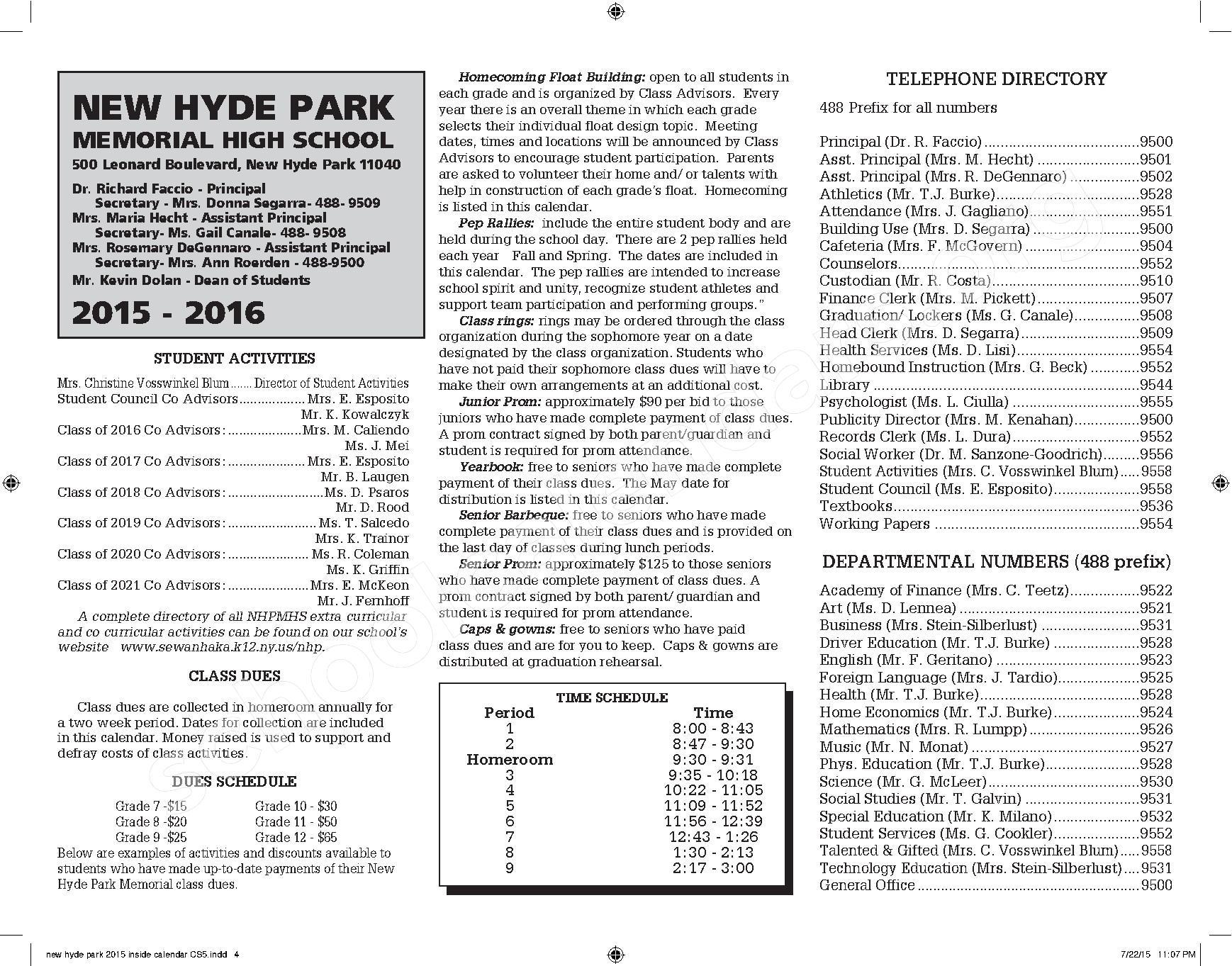 2015 - 2016 New Hyde Park Memorial HS Calendar – New Hyde Park Memorial High School – page 4